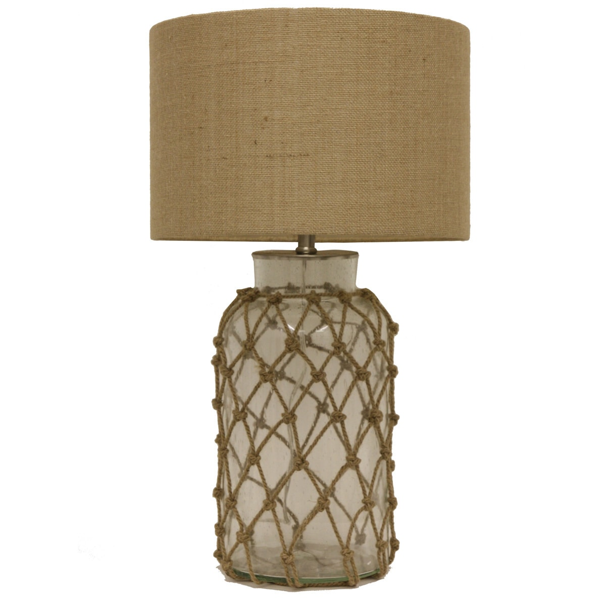 Seeded Glass Table Lamp with Rope Net - Free Shipping Today - Overstock.com  - 17383397