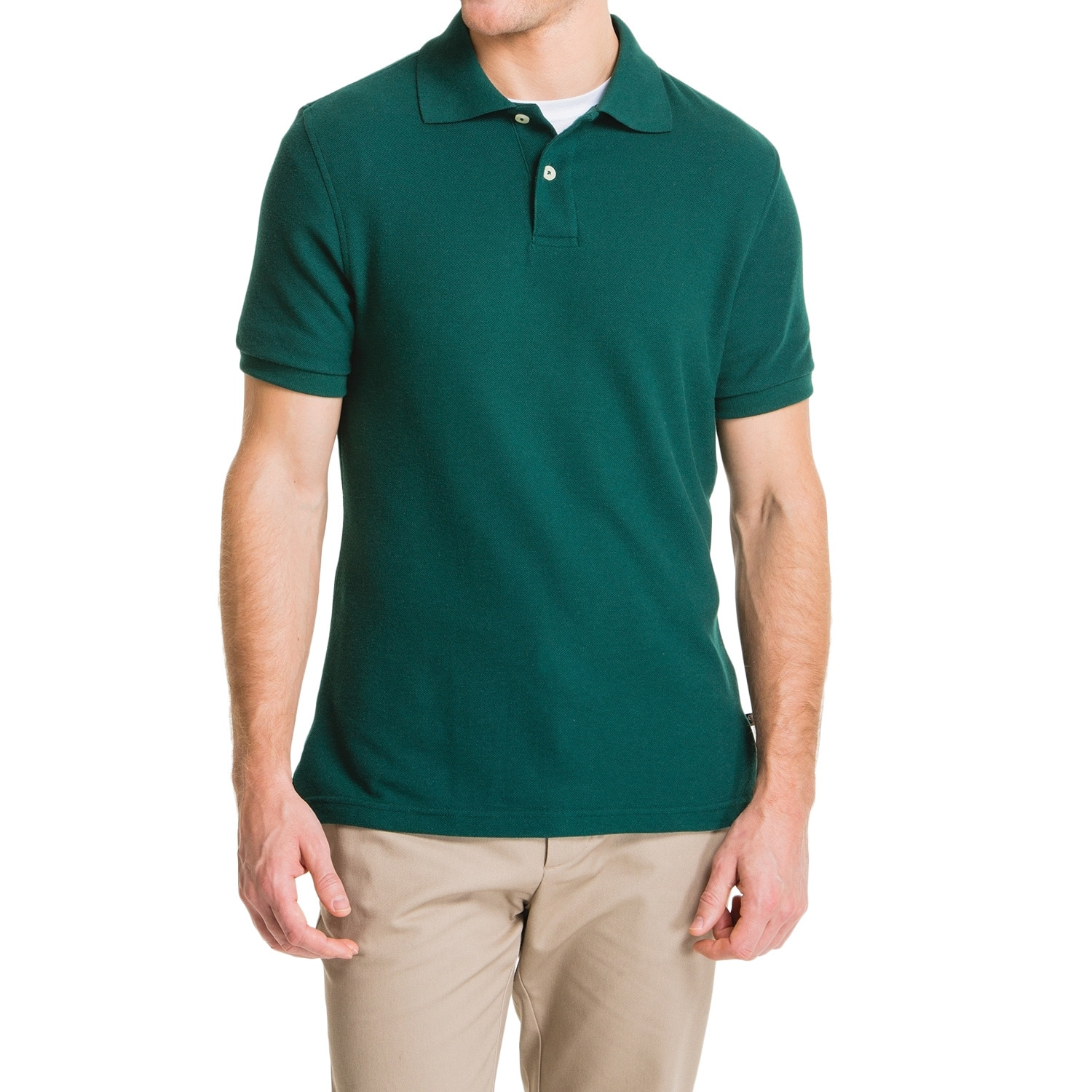 Lee Young Mens Hunter Green Short Sleeve Pique Polo