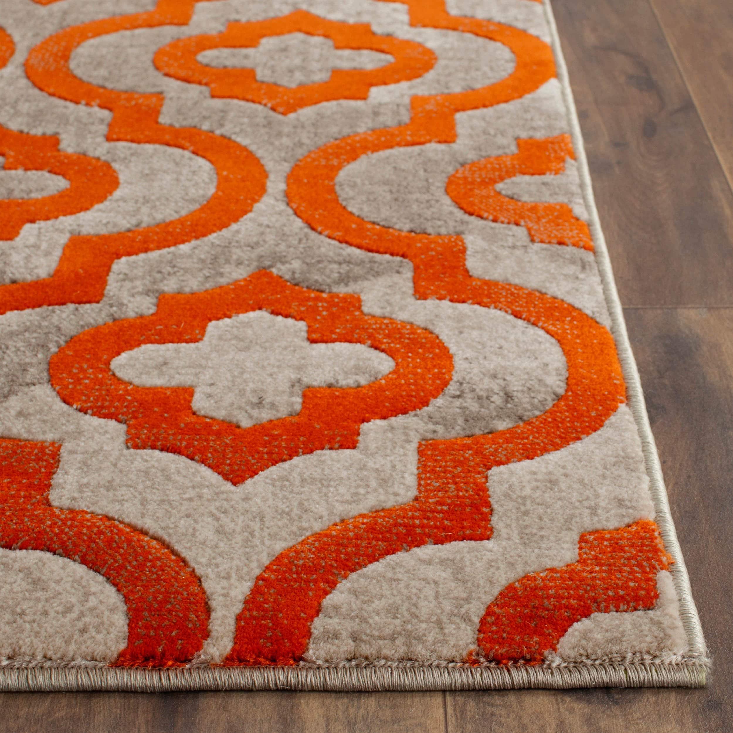 safavieh porcello contemporary moroccan light grey orange rug (' square) free shipping today  overstockcom  . safavieh porcello contemporary moroccan light grey orange rug (