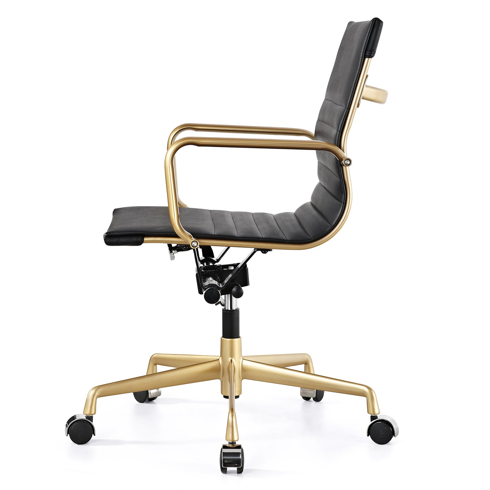 Shop M348 Black Vegan Leather And Gold Office Chair   Free Shipping Today    Overstock.com   10272897