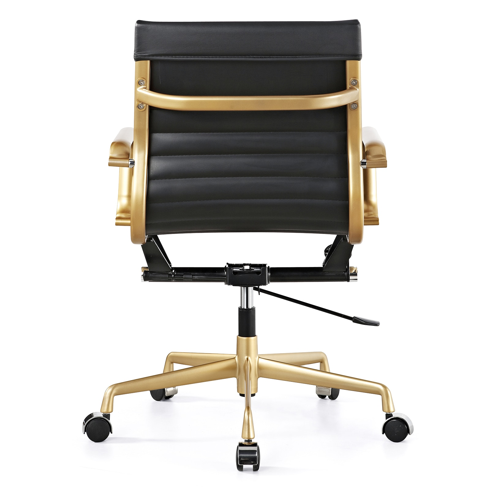 Delicieux Shop M348 Black Vegan Leather And Gold Office Chair   Free Shipping Today    Overstock.com   10272897