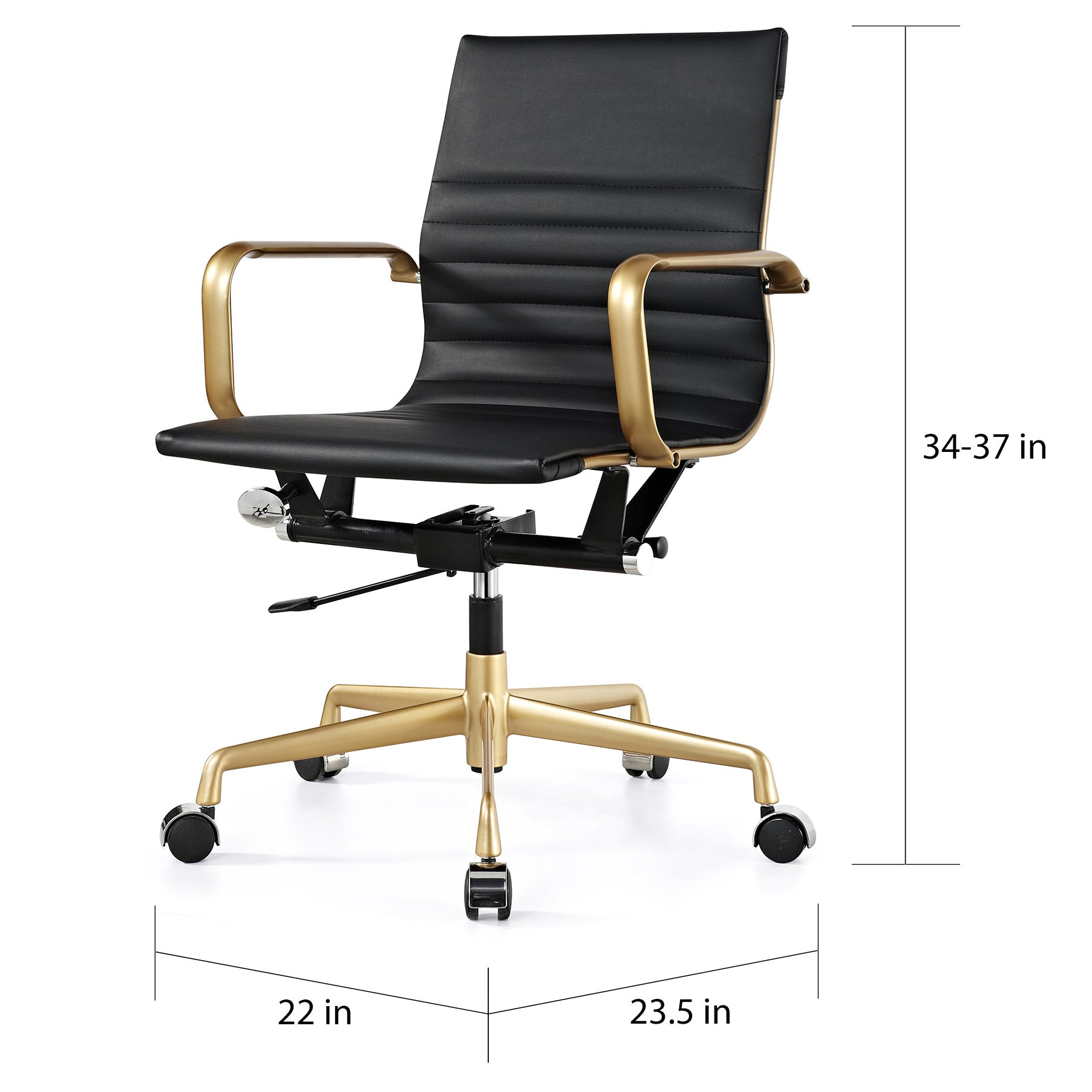 Attrayant Shop M348 Black Vegan Leather And Gold Office Chair   Free Shipping Today    Overstock.com   10272897