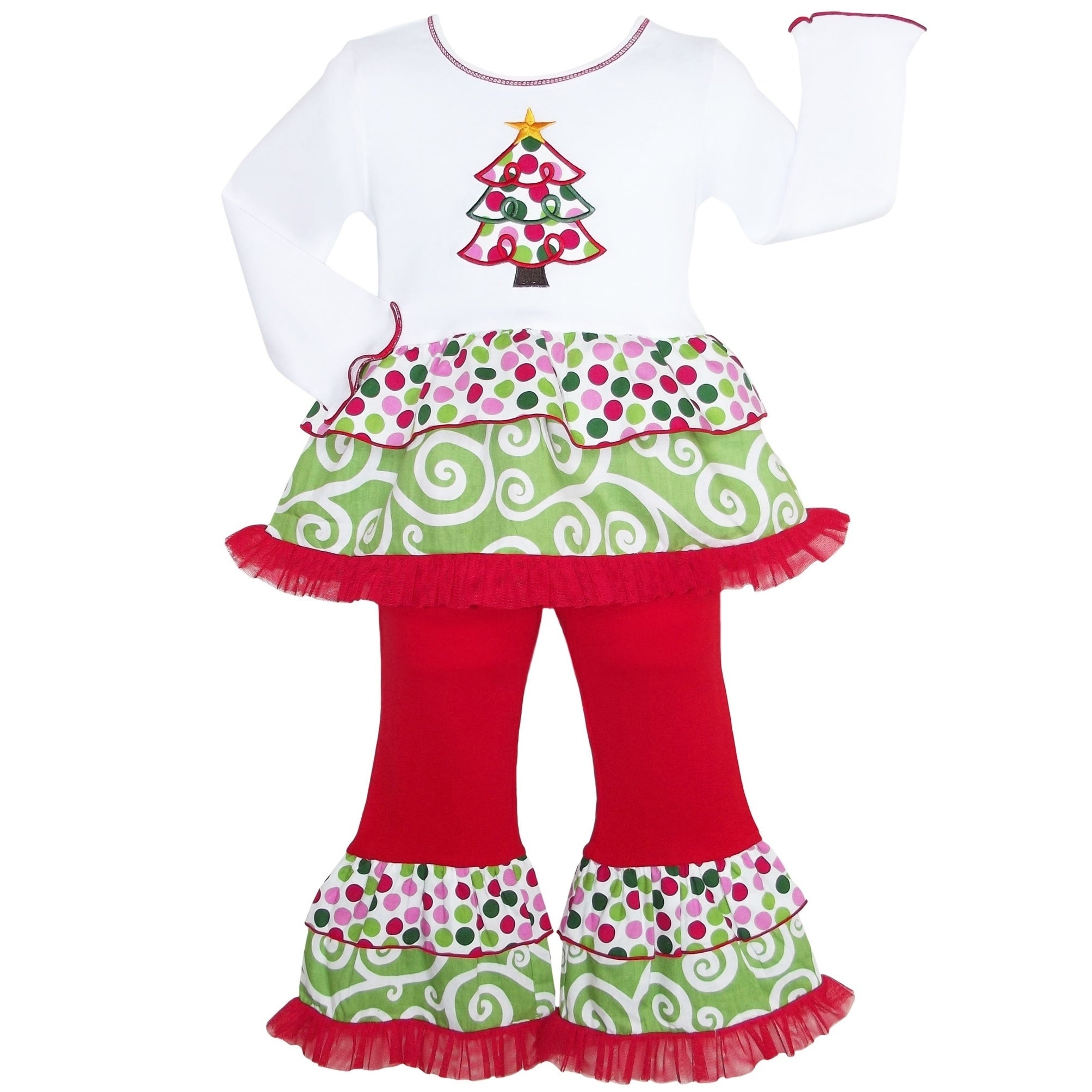 Ann Loren Girls Polka Dot Swirl Christmas Tree Holiday Outfit