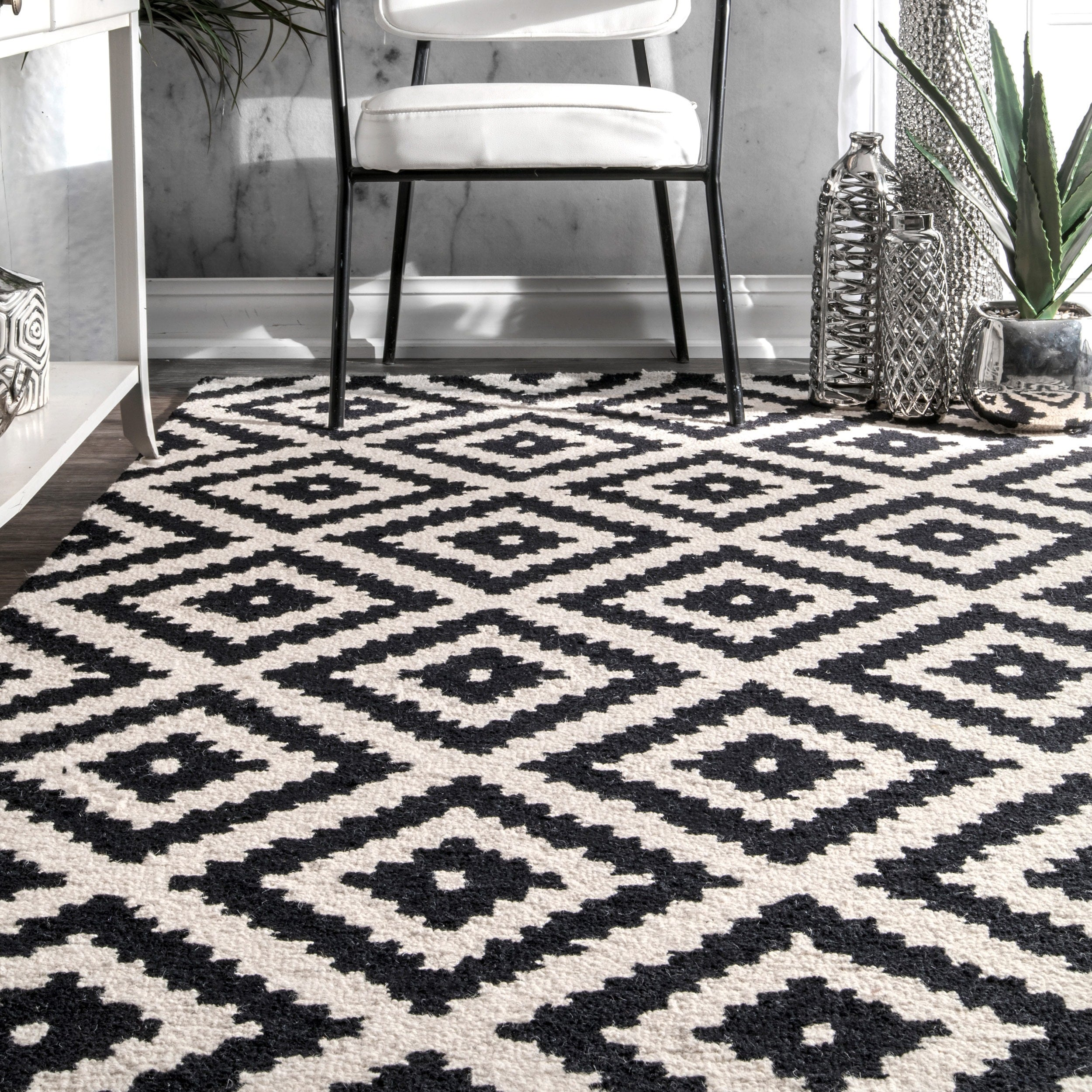 Unique nuLOOM Handmade Abstract Wool Fancy Pixel Trellis Area Rug (7'6 x  CC41