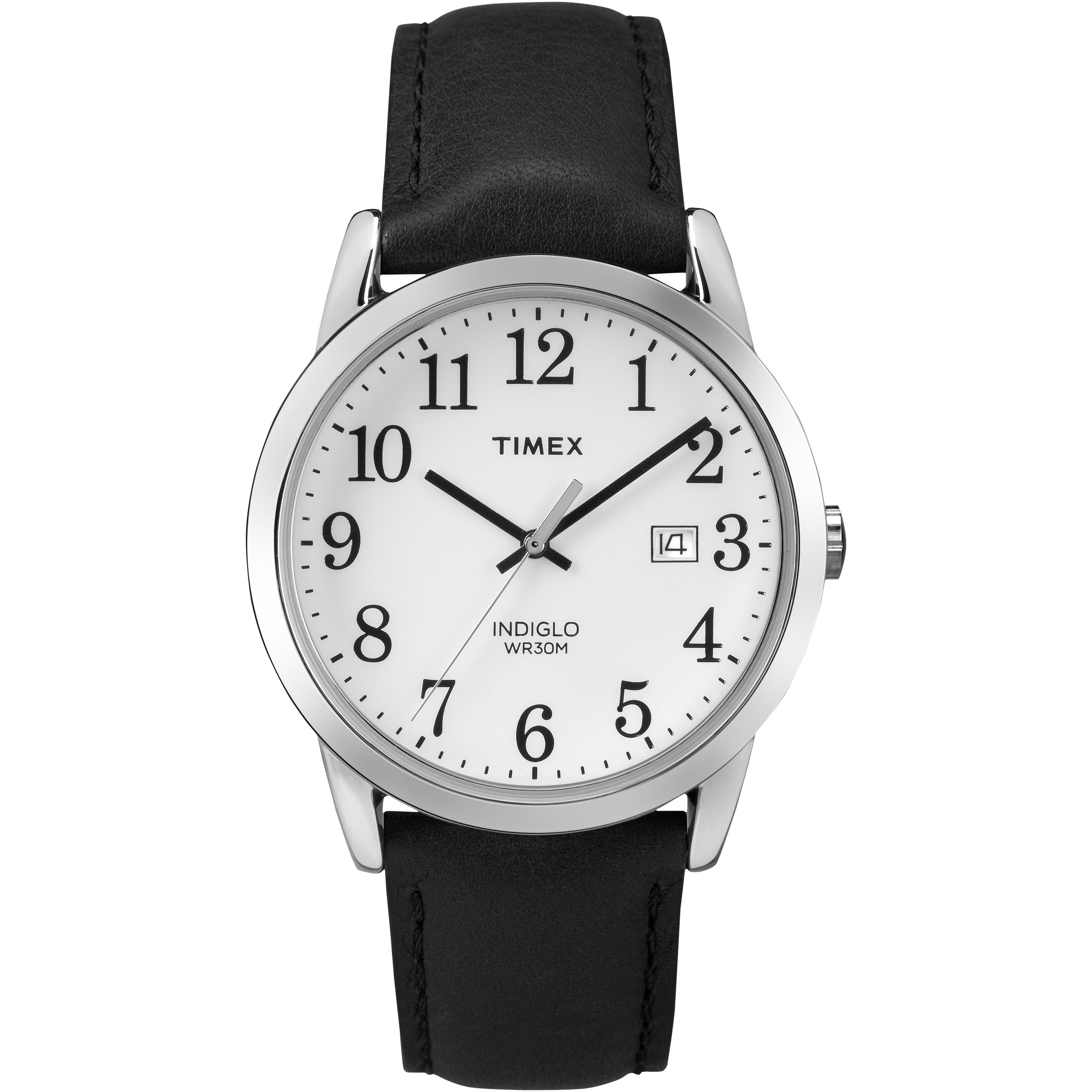 bc7088d953cc4 Shop Timex Men s Easy Reader Black Leather Strap Watch - Free Shipping On  Orders Over  45 - Overstock.com - 10273297
