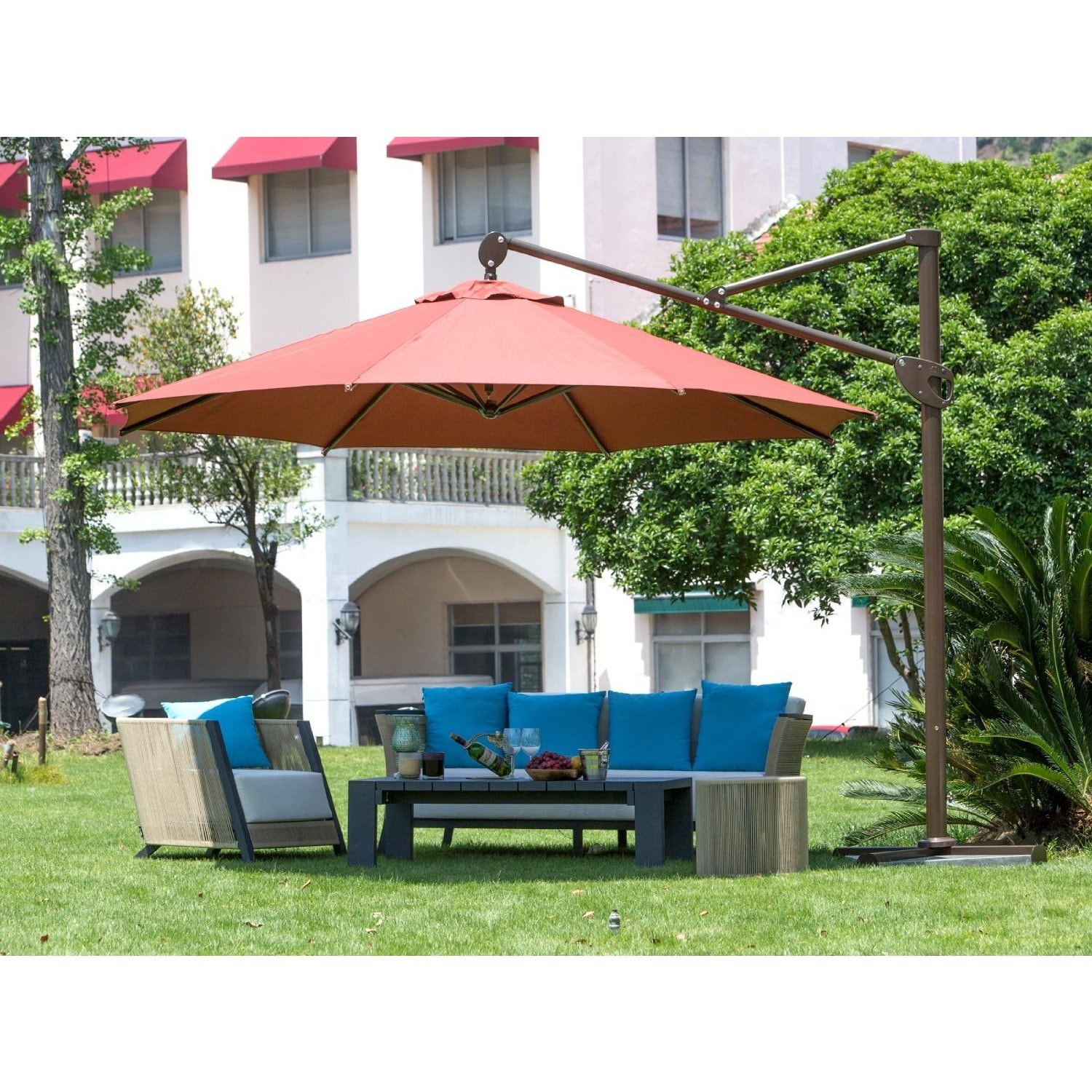 Abba Patio 11 foot Deluxe Octagon fset Cantilever Patio Umbrella