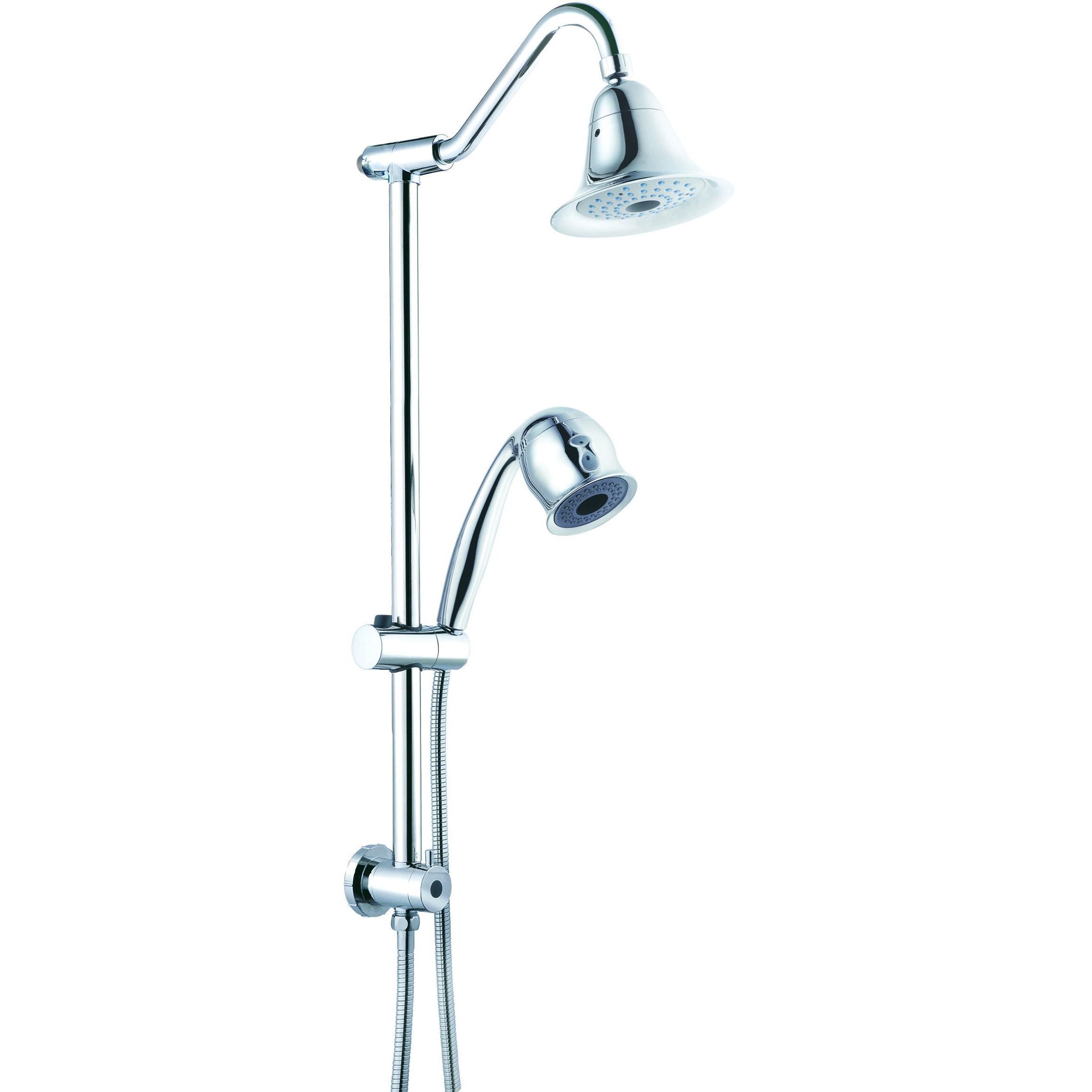 Sliding Bar Set Gooseneck Shower Arm 2 Function Hand Shower and