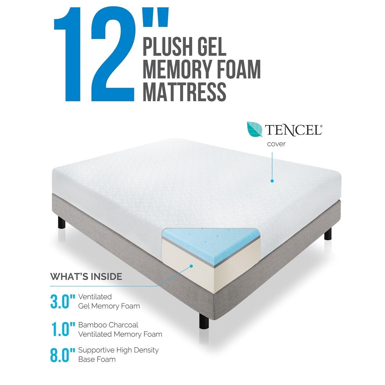 LUCID 12 inch Queen size Plush Gel Memory Foam Mattress Free