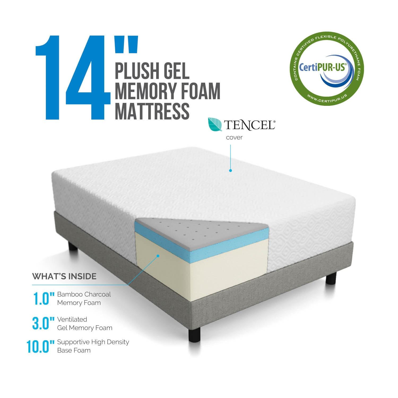 LUCID 14 Inch Plush Queen size Ventilated Gel Memory Foam Mattress