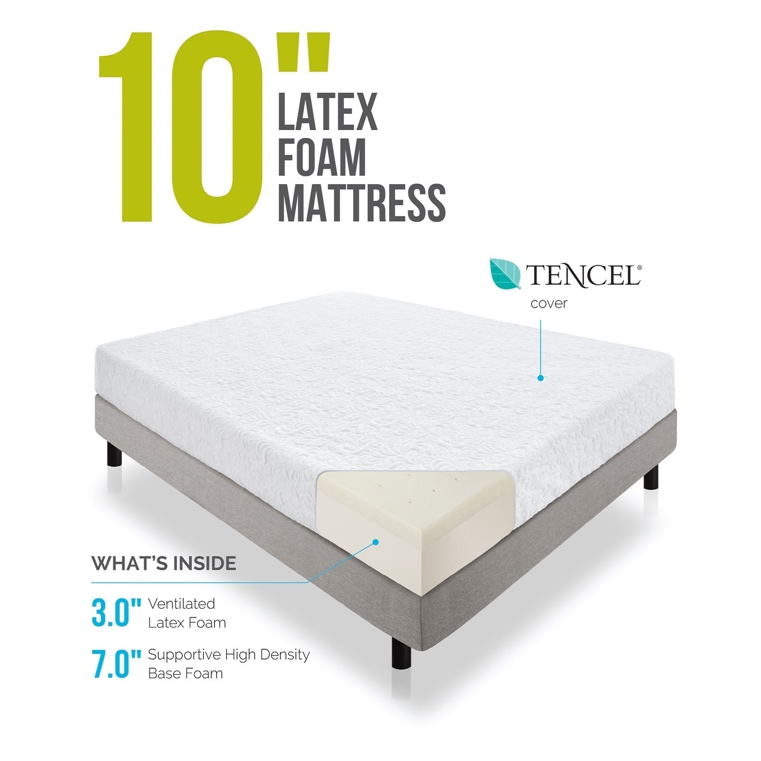 foam overstock shipping home garden mattress today product inch latex lucid free