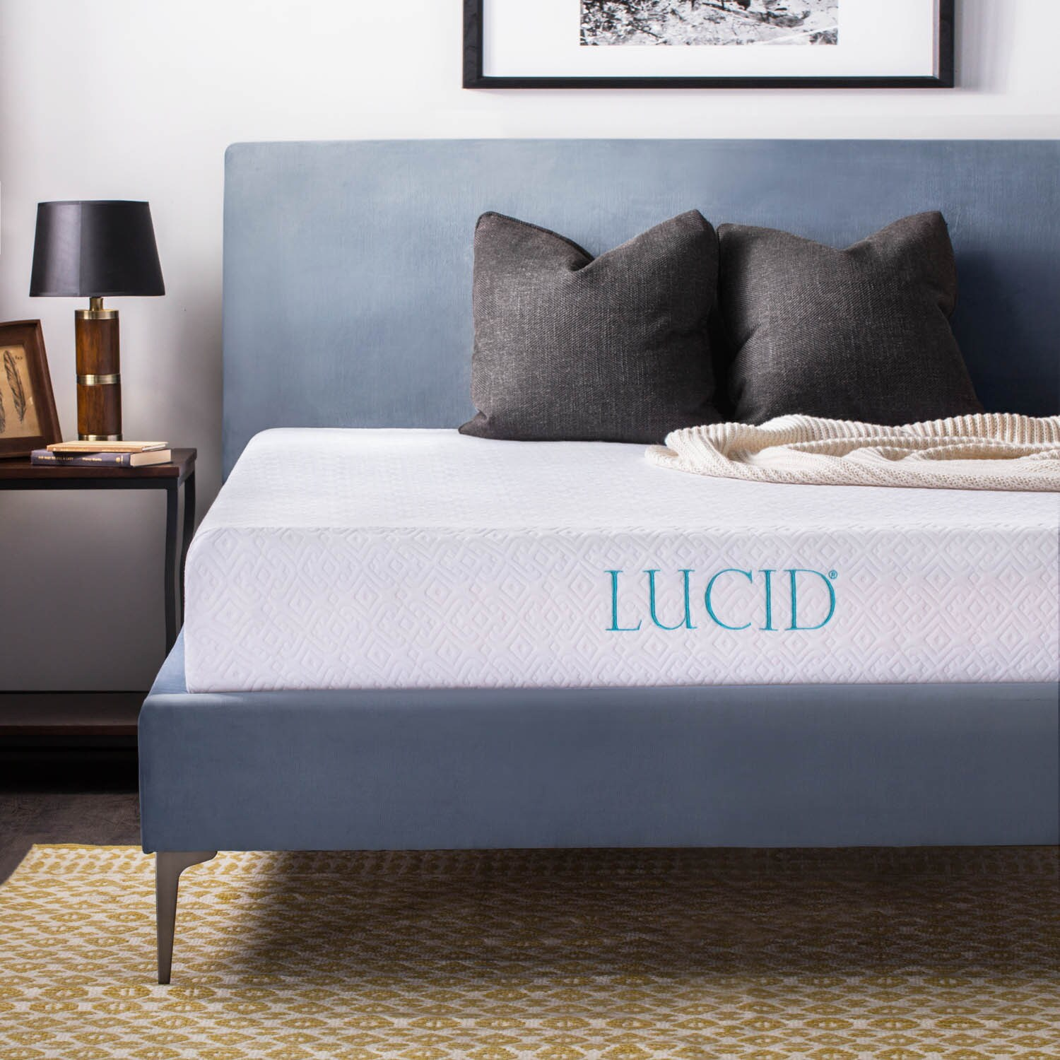 LUCID 10 inch Short Queen size Gel Memory Foam Mattress Free