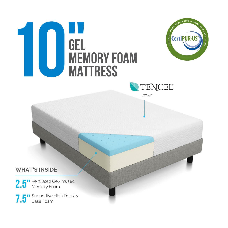 LUCID 10 inch Twin XL size Gel Memory Foam Mattress Free