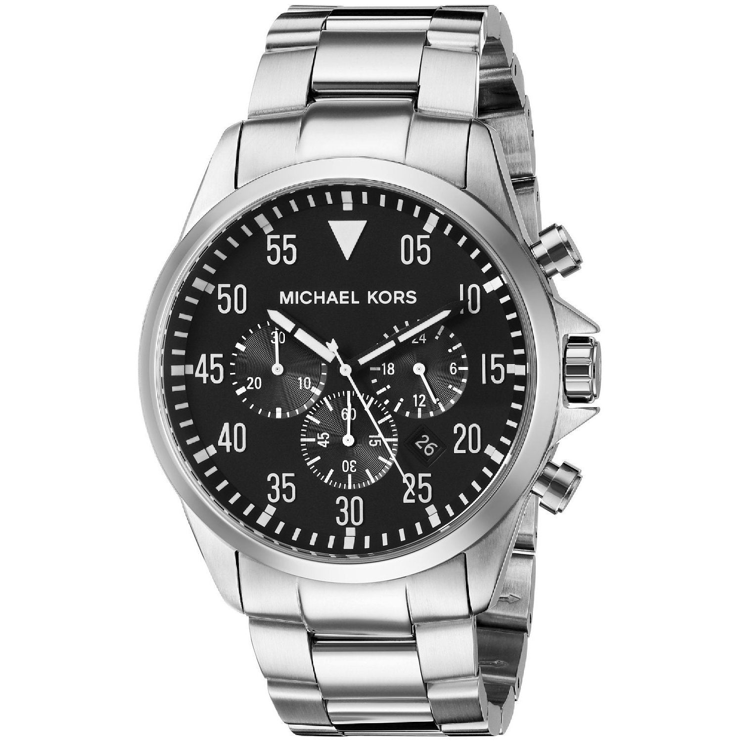 f8789c3c787e3 Shop Michael Kors Men s MK8413 Gage Round Silvertone Bracelet Watch -  silver - Free Shipping Today - Overstock - 10276442
