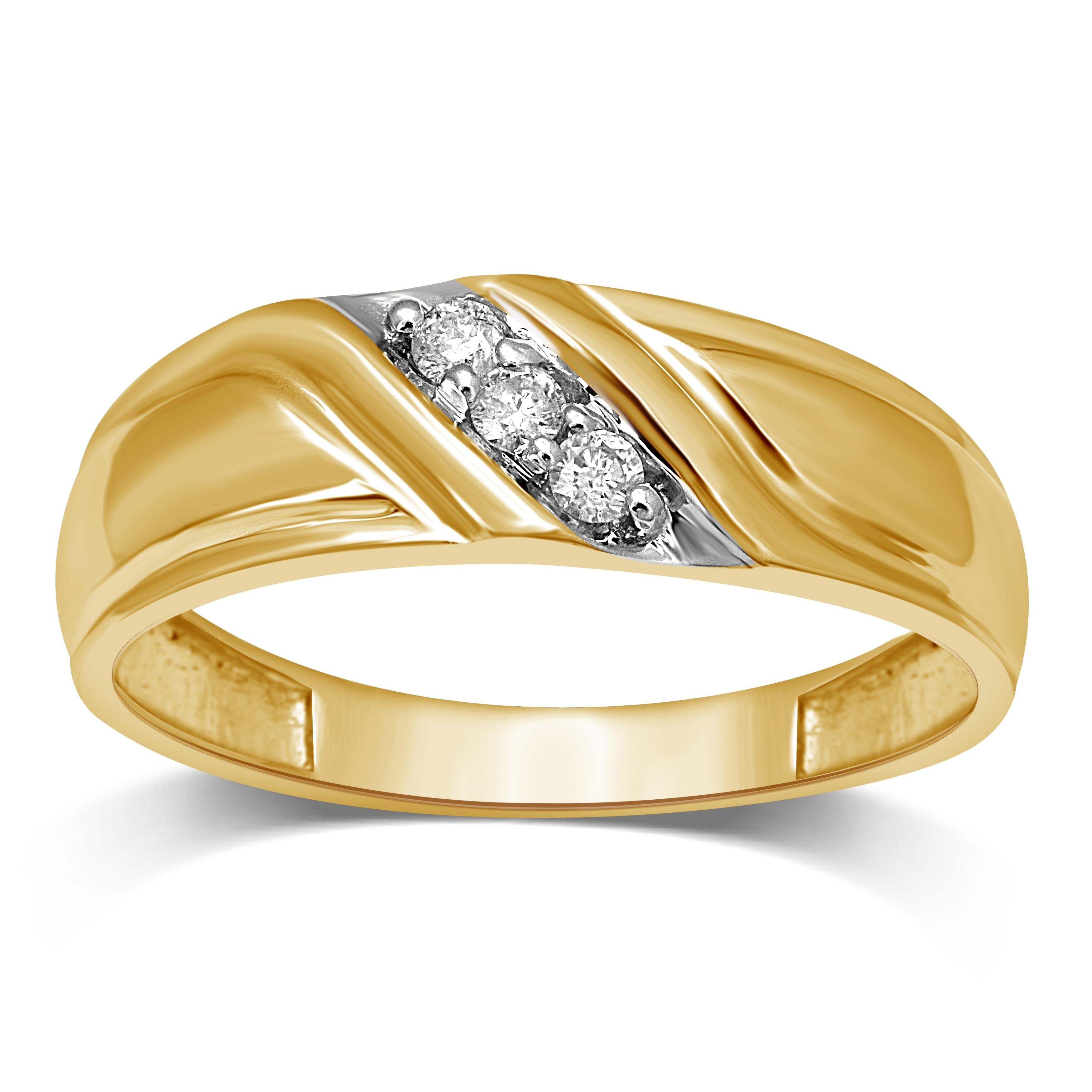 Shop Unending Love Men S 10k Gold 1 10 Ctw Diamond Wedding Band On Sale Overstock 10277528