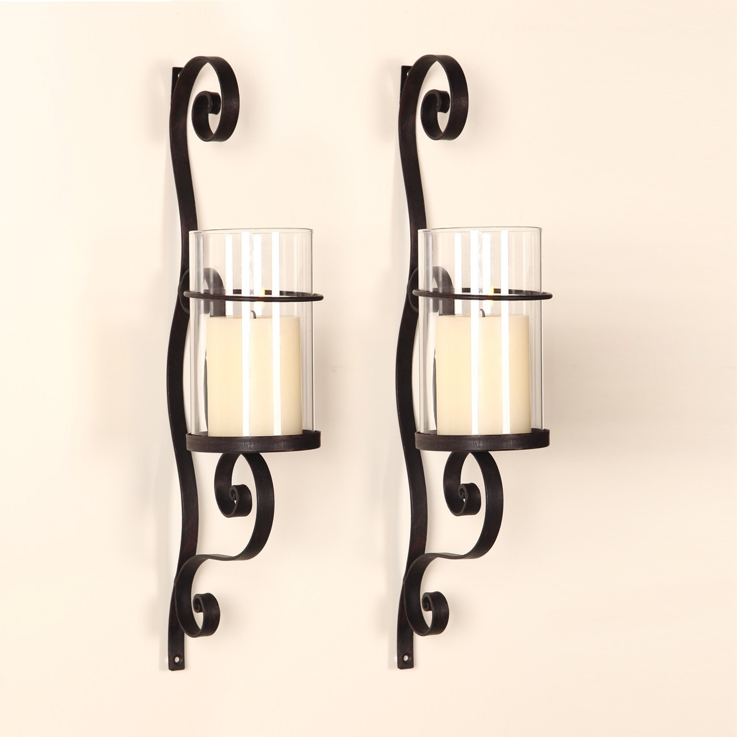 Adeco Iron and Glass Vertical Wall Hanging Candle Holder Sconce - Free  Shipping Today - Overstock.com - 17395332