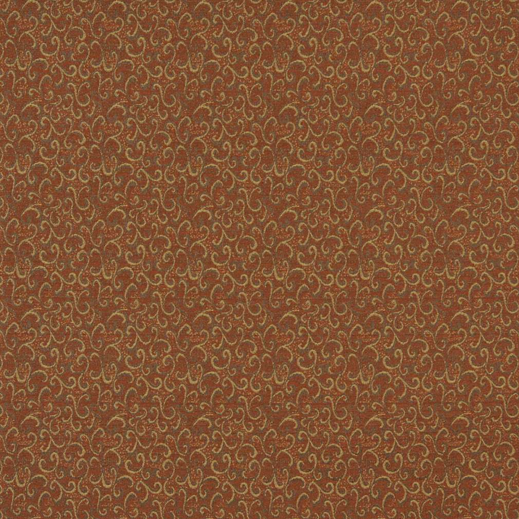 Shop E247 Rust Red Gold Abstract Scrolls Contract Upholstery Fabric