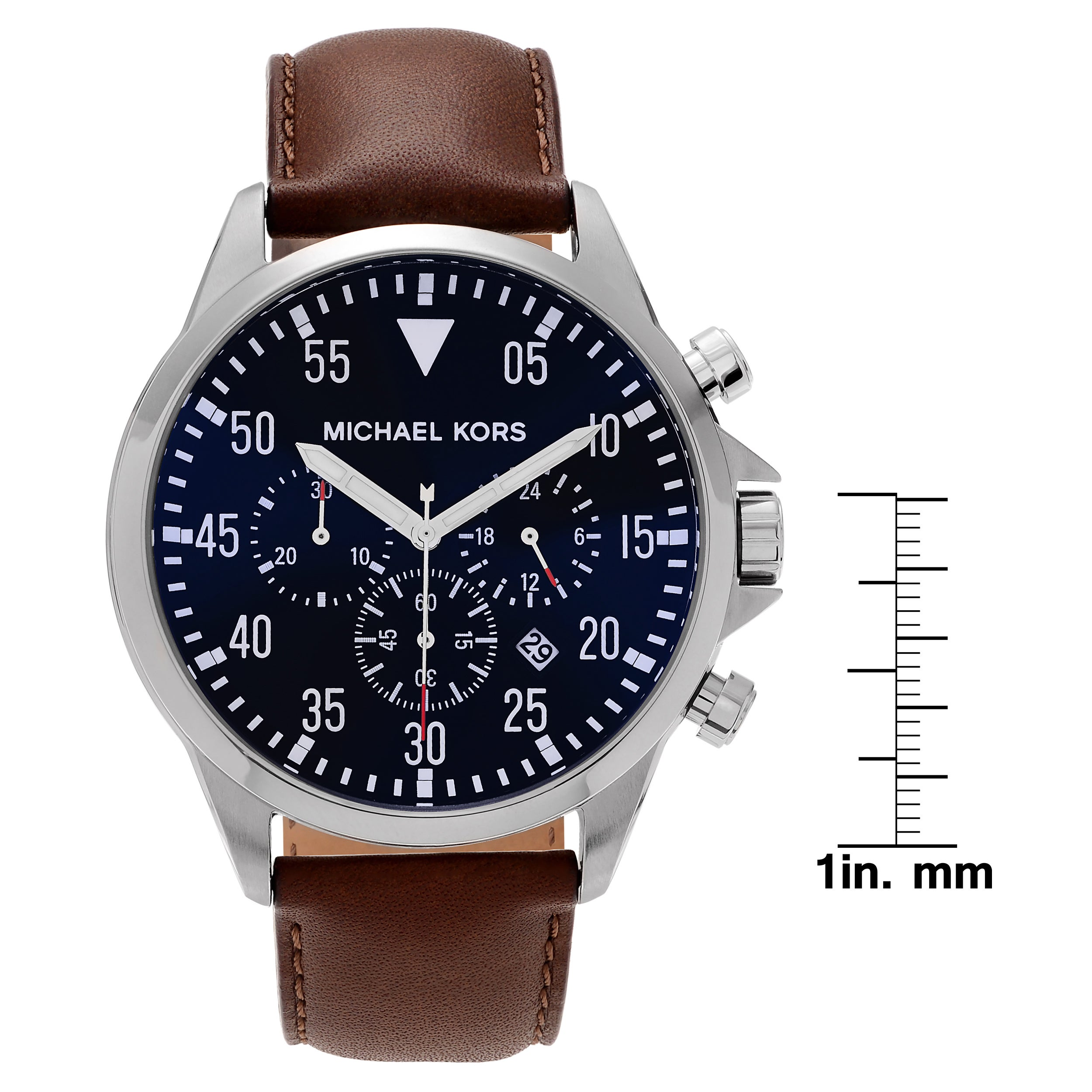 38ea4e0791cc Shop Michael Kors Men s MK8362  Gage  Chronograph Brown Leather Watch -  Blue - Free Shipping Today - Overstock - 10283478