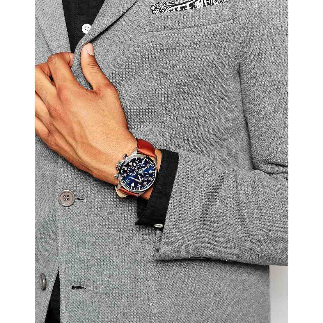 d04fca8bca62 Shop Michael Kors Men's MK8362 'Gage' Chronograph Brown Leather Watch -  Blue - Free Shipping Today - Overstock - 10283478