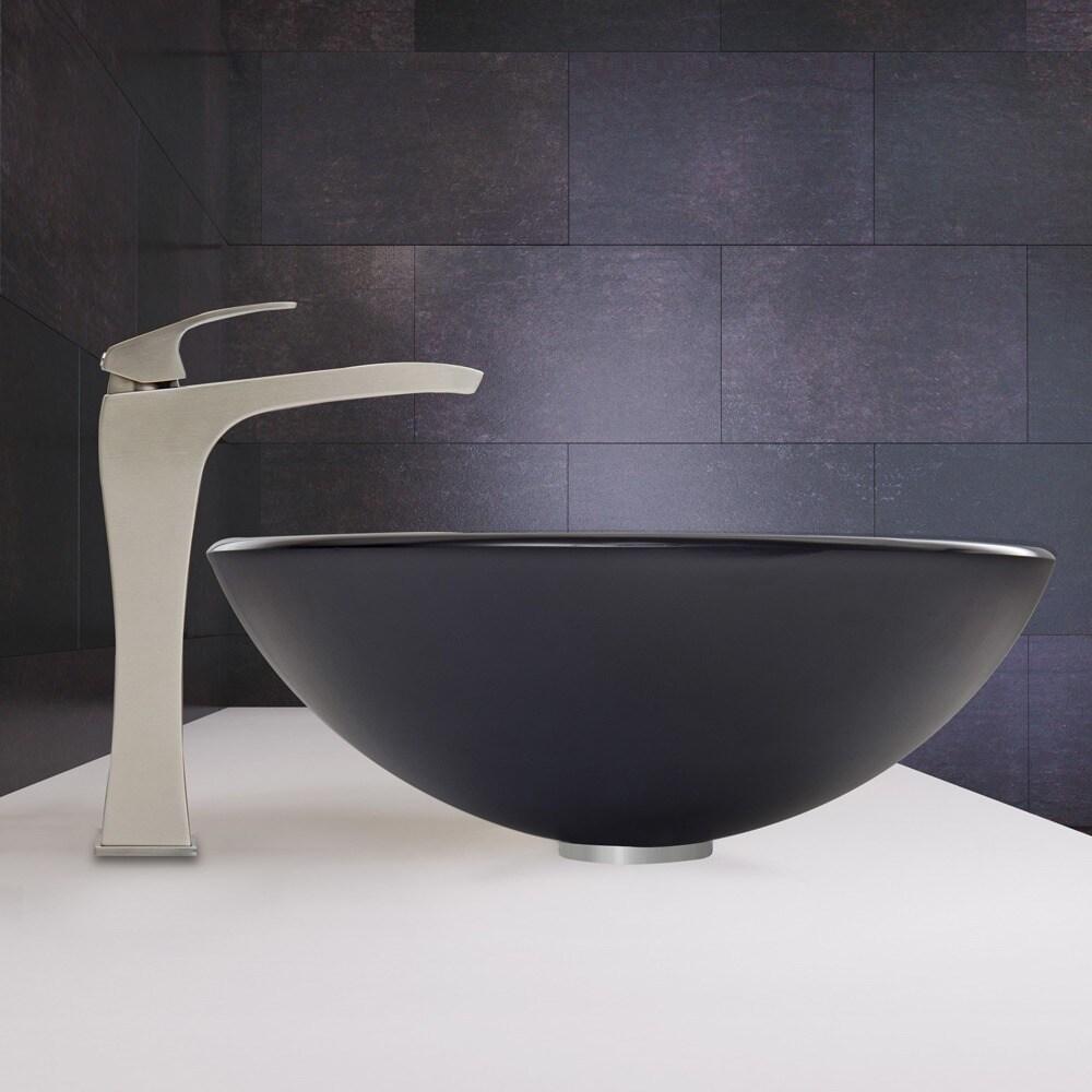 Shop VIGO Sheer Black Frost Glass Vessel Sink and Blackstonian ...