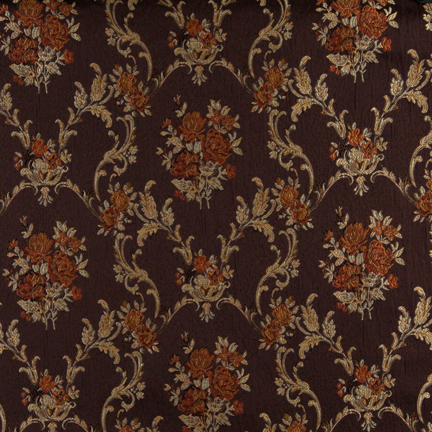 Shop A0014b Brown Gold Persimmon Ivory Floral Brocade Upholstery