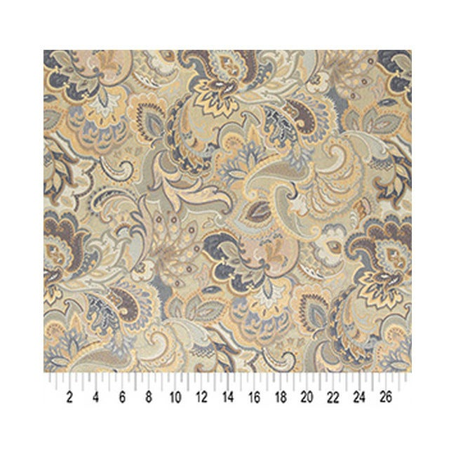 Shop A0025D Blue White Gold Abstract Durable Floral Upholstery ...