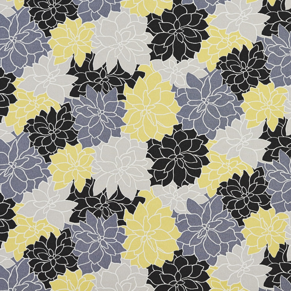 Shop Black Grey And Yellow Overlapping Flowers Outdoor Upholstery