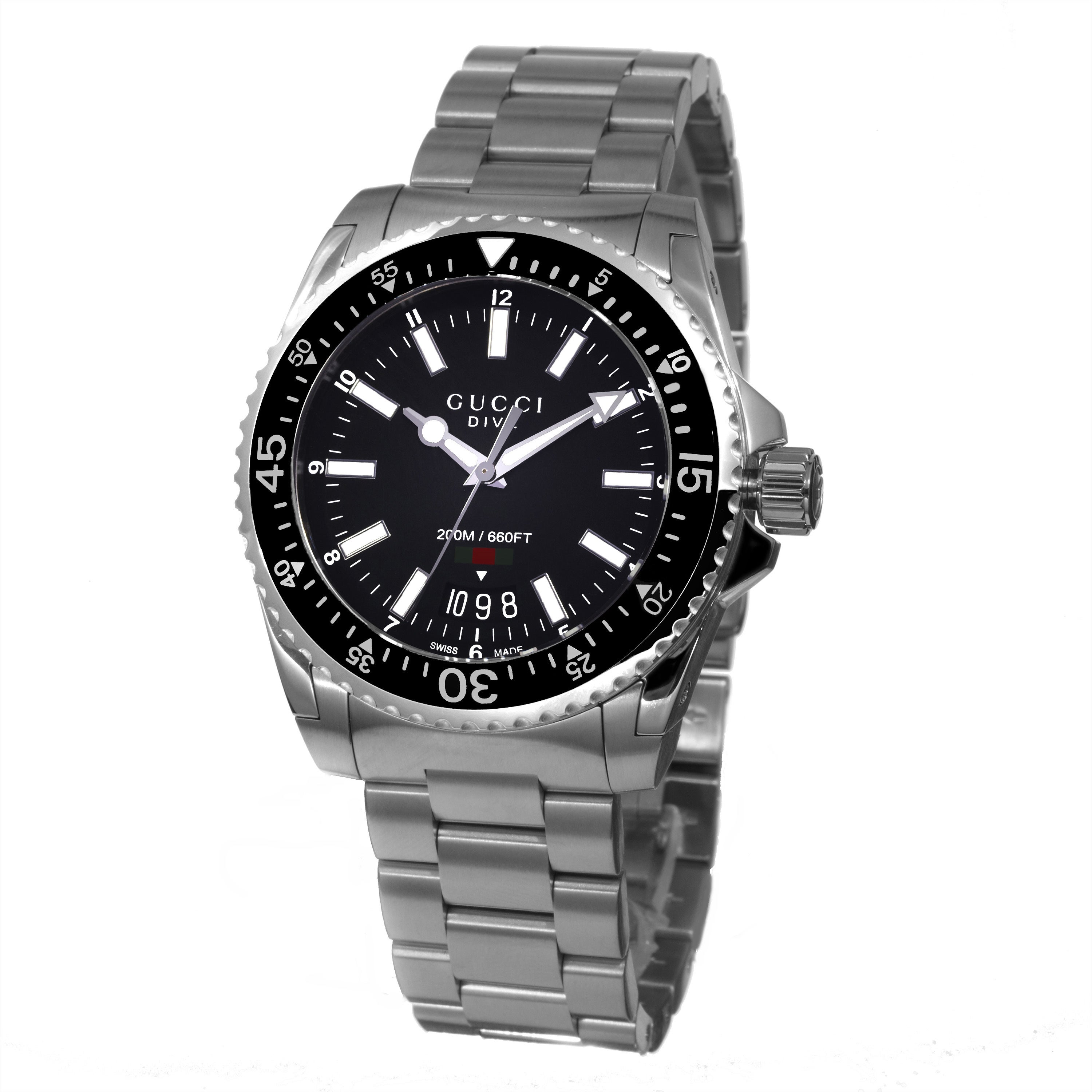 631e1cd0031 Shop Gucci Men s YA136301  Dive  Black Dial Stainless Steel Swiss Quartz  Watch - Free Shipping Today - Overstock - 10290486