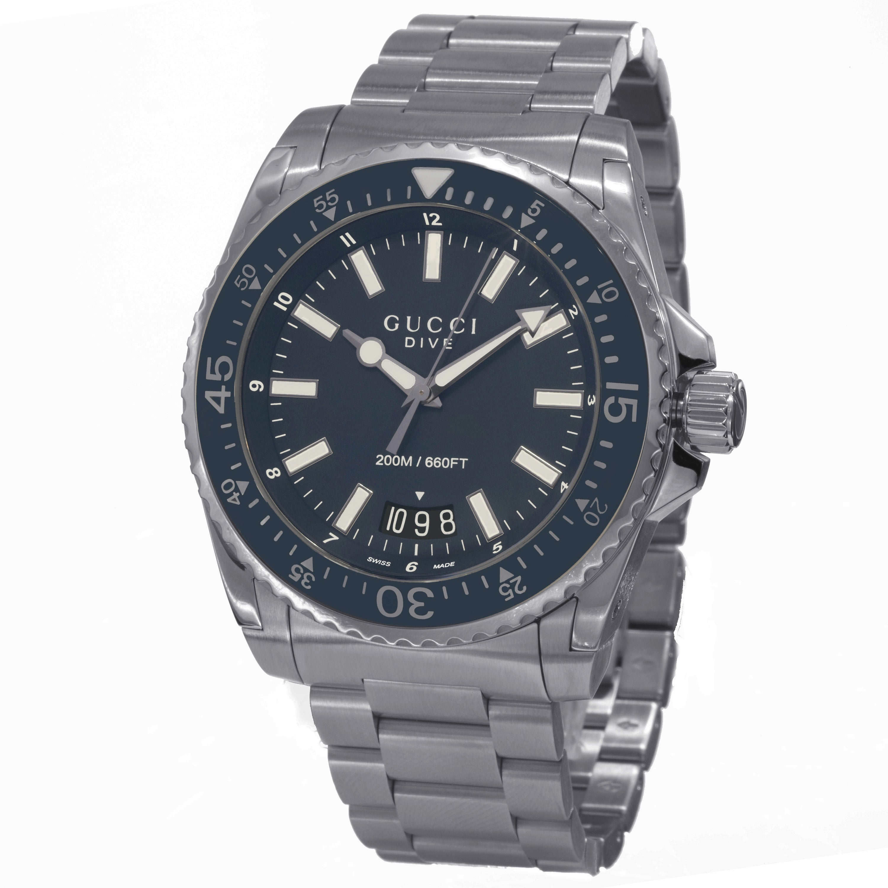 c4ad4a173bb Shop Gucci Men s YA136203  Dive  Blue Dial Stainless Steel Swiss Quartz  Watch - Free Shipping Today - Overstock - 10290520