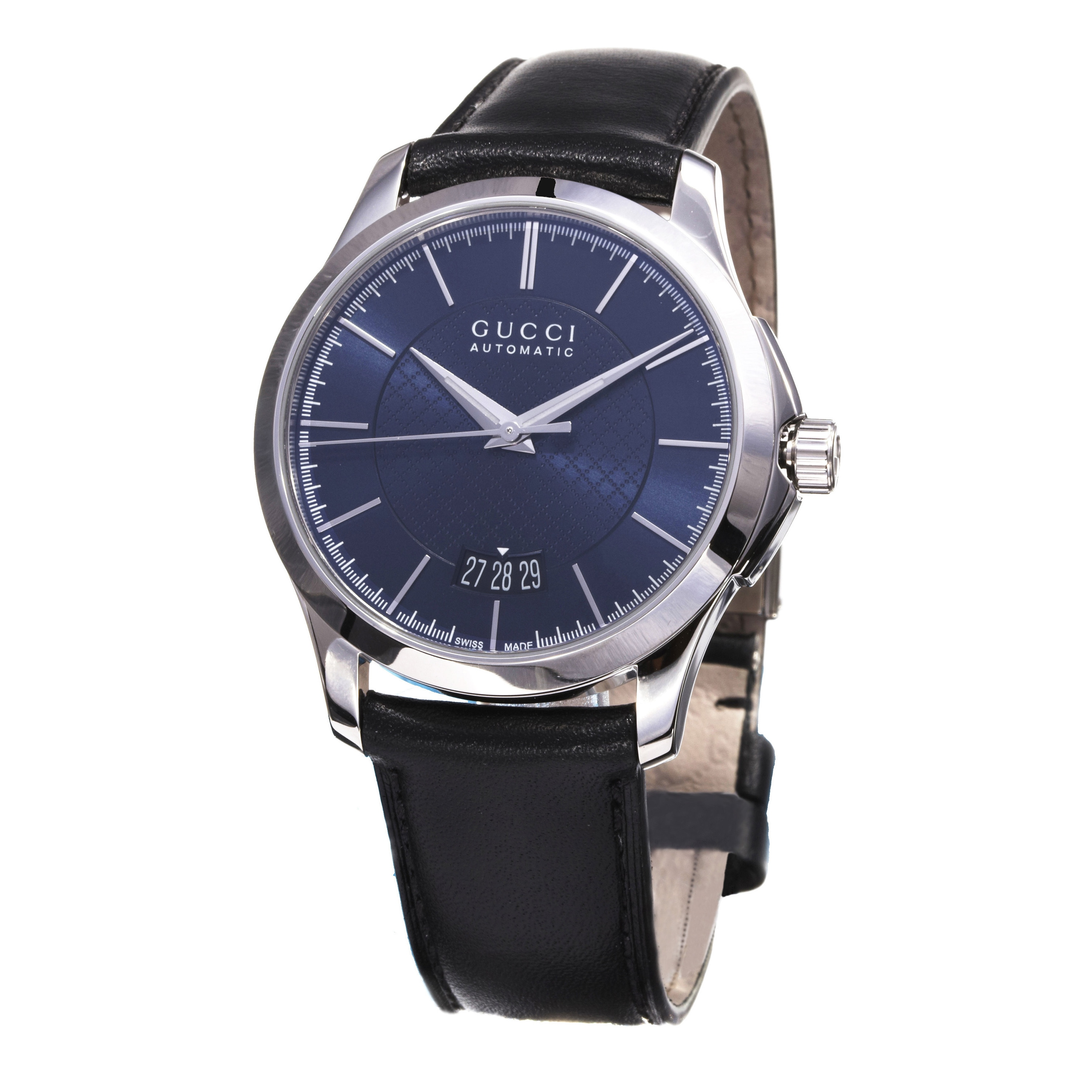 734fbcc1076 Shop Gucci Men s YA126443  Timeless  Blue Dial Black Leather Strap Swiss  Automatic Watch - Free Shipping Today - Overstock - 10290521