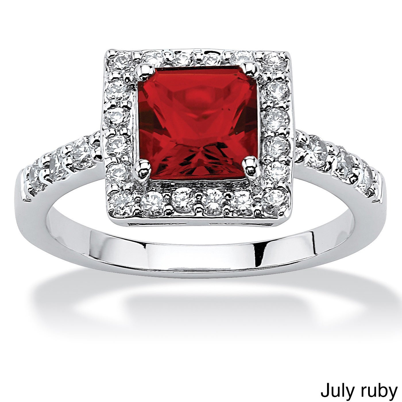 1d97c32c6c9 Shop Princess-Cut Birthstone Halo Ring in .925 Sterling Silver Color Fun -  On Sale - Free Shipping On Orders Over  45 - Overstock - 10291707