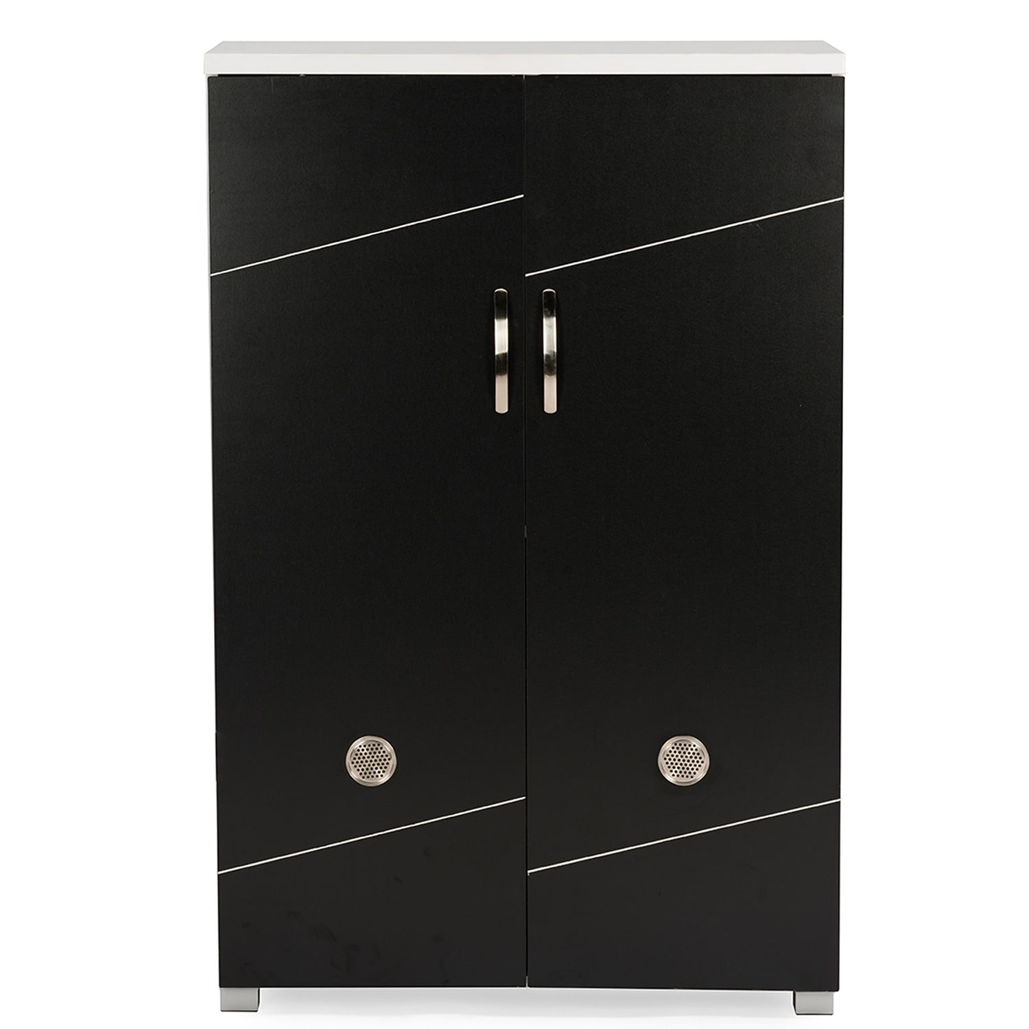 Baxton Studio Rudd Contemporary Black White Shoe Cabinet With 2