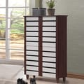 Baxton Studio Sasaki Contemporary Oak and White 2-tone Shoe Cabinet With 4 Doors