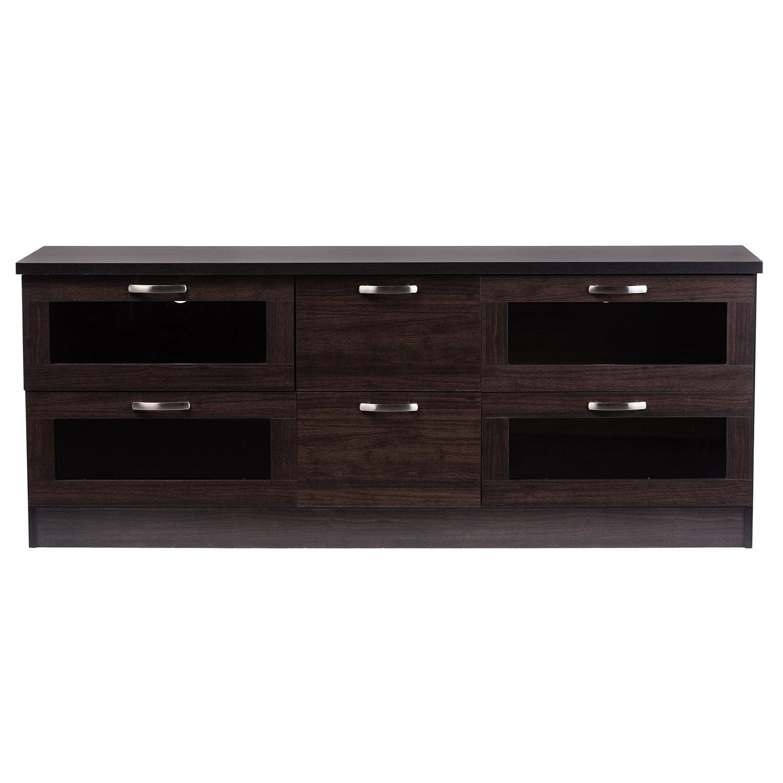 Baxton Studio Tippett 63 In Dark Brown Wood Tv Cabinet Free  # Meuble De Tv En Biatrez