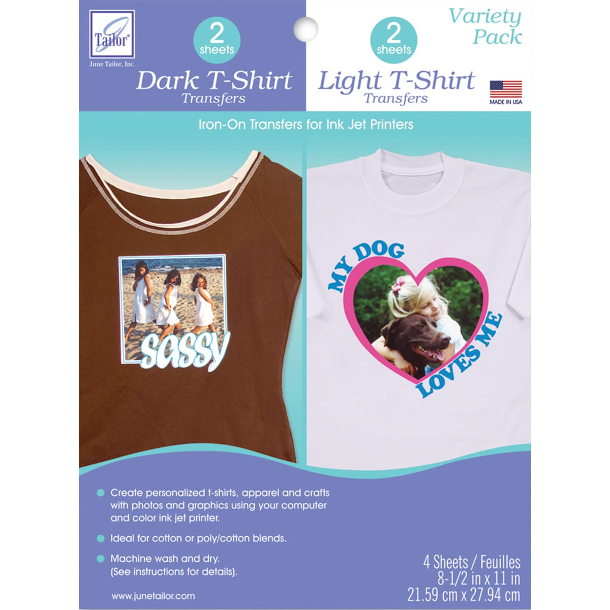 T Shirt Iron On Ink Jet Transfer Sheets 85inx11in 4pkg Free