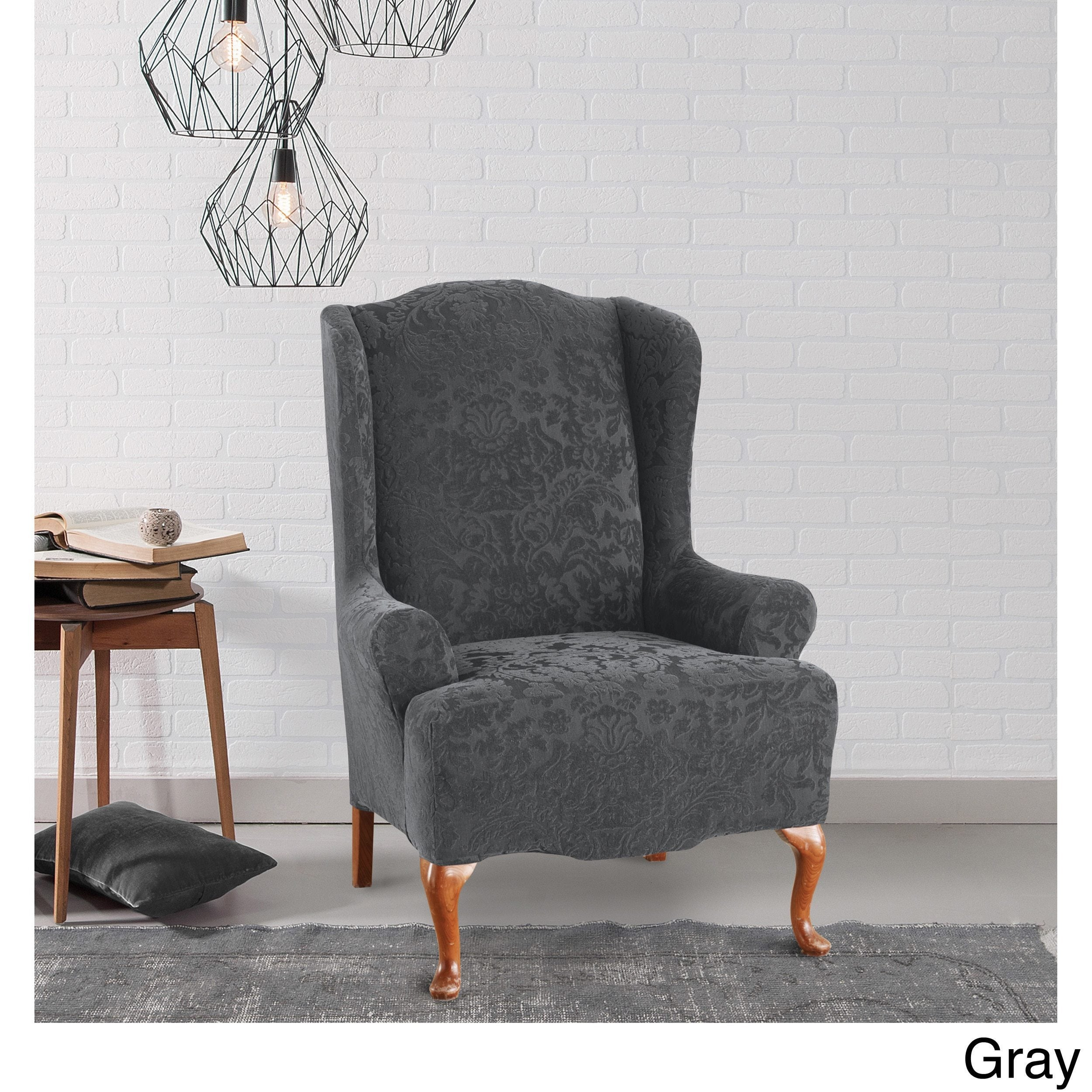 Shop Sure Fit Stretch Jacquard Damask Wing Chair Slipcover   Free Shipping  Today   Overstock.com   10296052
