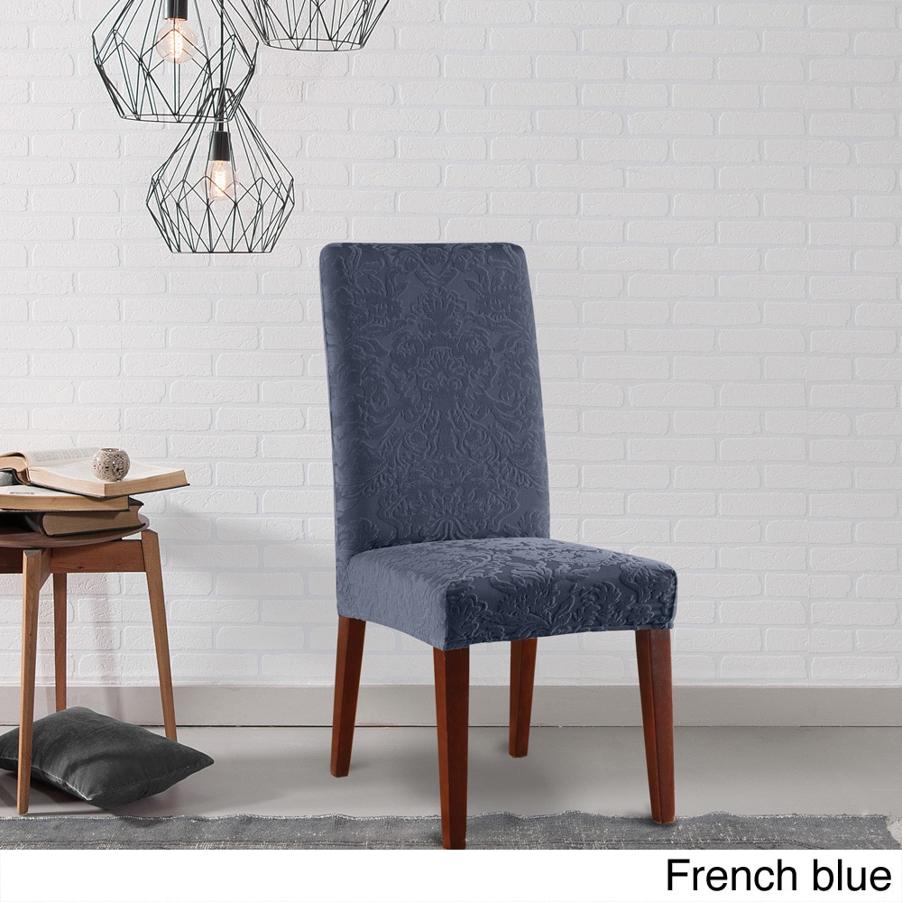Shop sure fit stretch jacquard damask dining room chair slipcover free shipping on orders over 45 overstock com 10296074