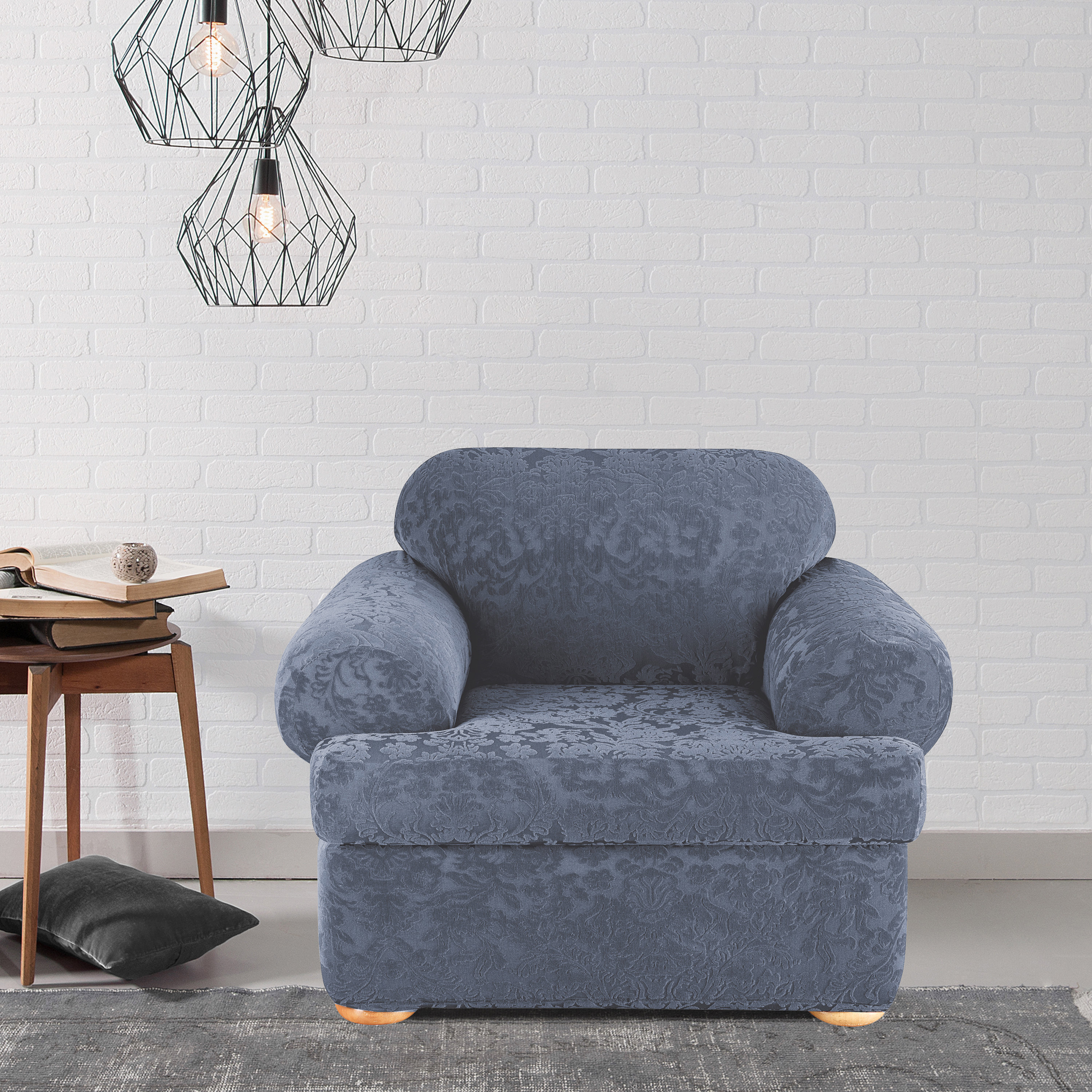 Shop sure fit stretch jacquard damask two piece t cushion chair slipcover on sale free shipping today overstock com 10296077