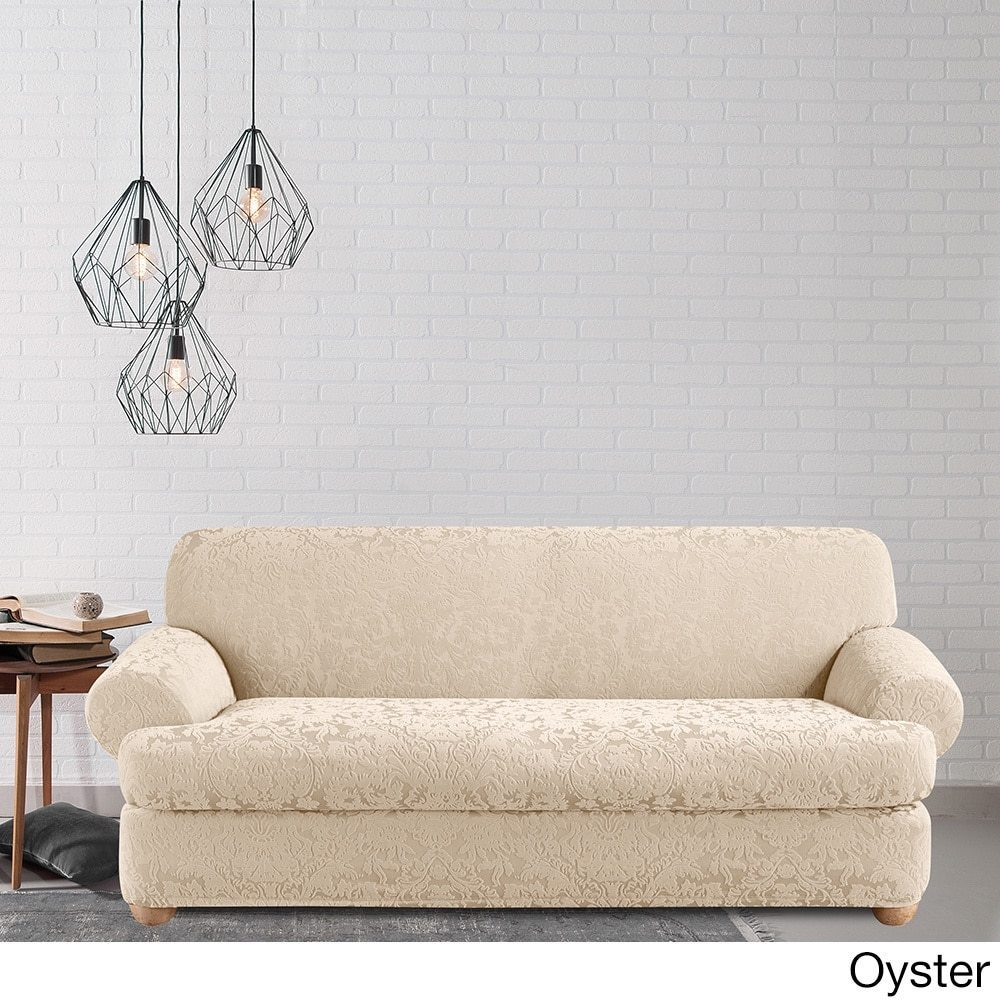 Shop Sure Fit Stretch Jacquard Damask Two Piece T Cushion Sofa Slipcover    On Sale   Free Shipping Today   Overstock.com   10296078