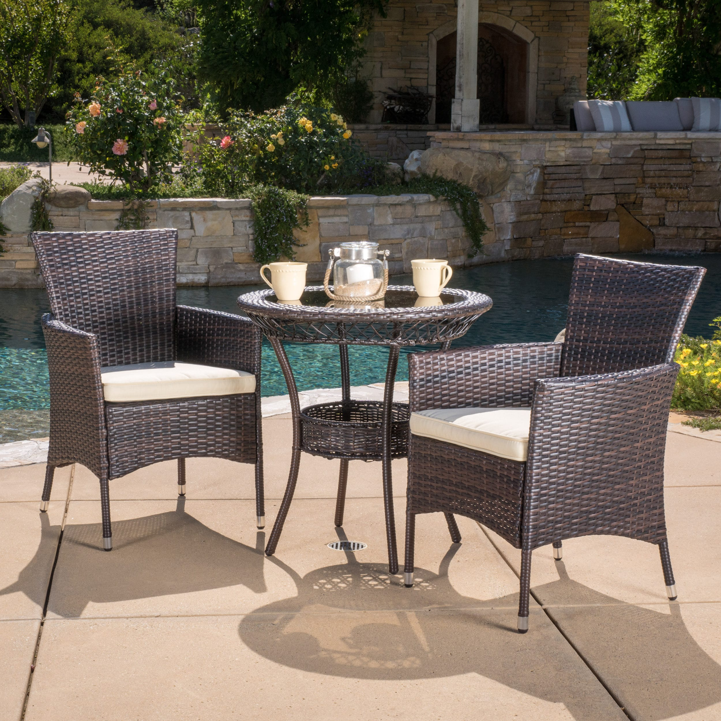 Parker outdoor 3 piece wicker bistro set with cushions by christopher knight home