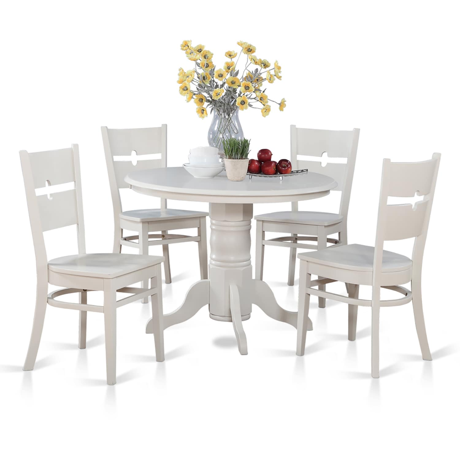 Shop 5 Piece Kitchen Nook Round Table With 4 Dinette Chairs   Free Shipping  Today   Overstock.com   10296480
