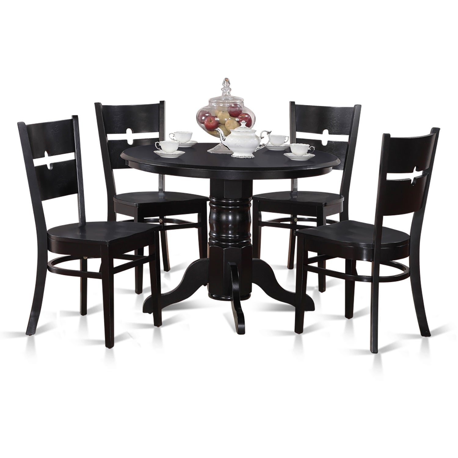 5-piece Kitchen Nook Round Table with 4 Dinette Chairs - Free ...