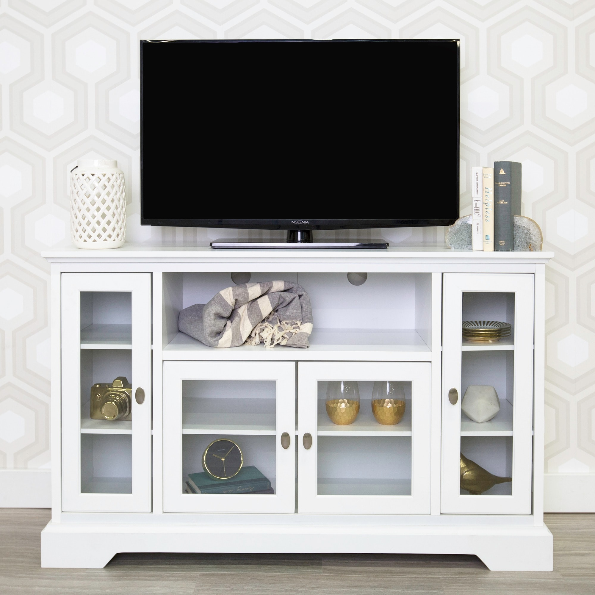 52 White Wood Highboy Style Tv Stand Free Shipping Today  # Etagere Tv Bois
