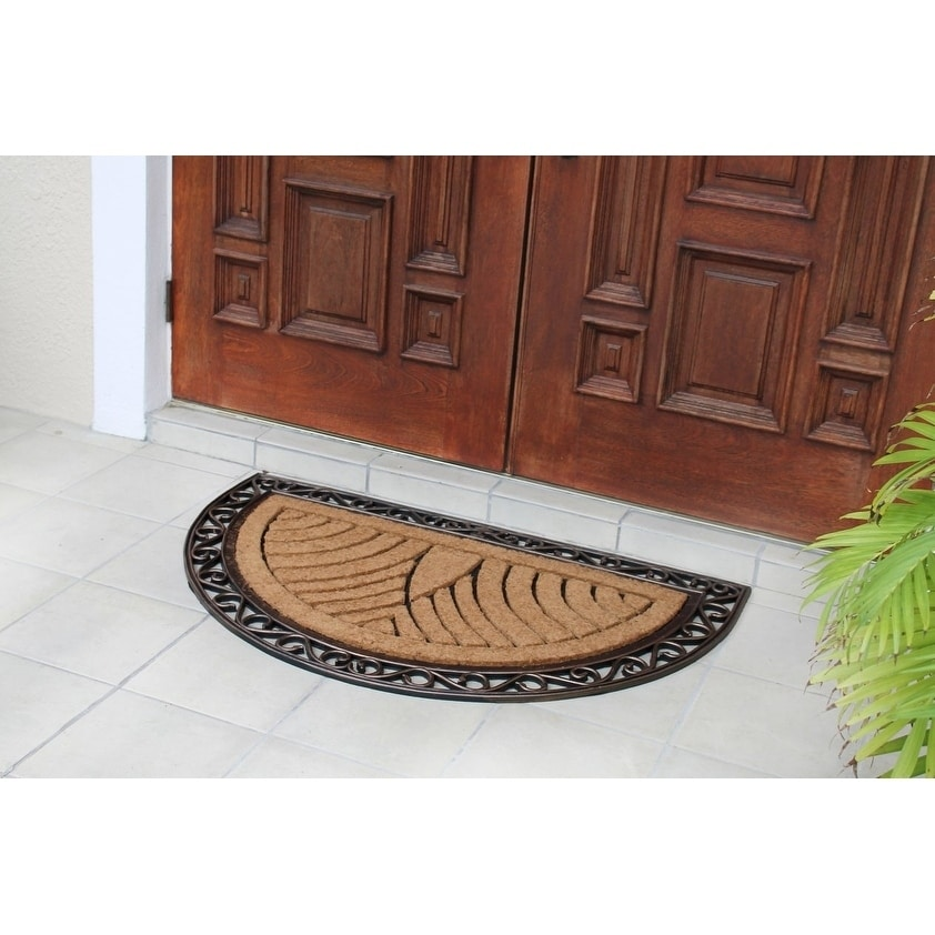 Shop First Impression Hand Crafted Elegant Half Round Rubber And Coir  Double Doormat (2u00276 X 4u0027)   Free Shipping Today   Overstock.com   10297772