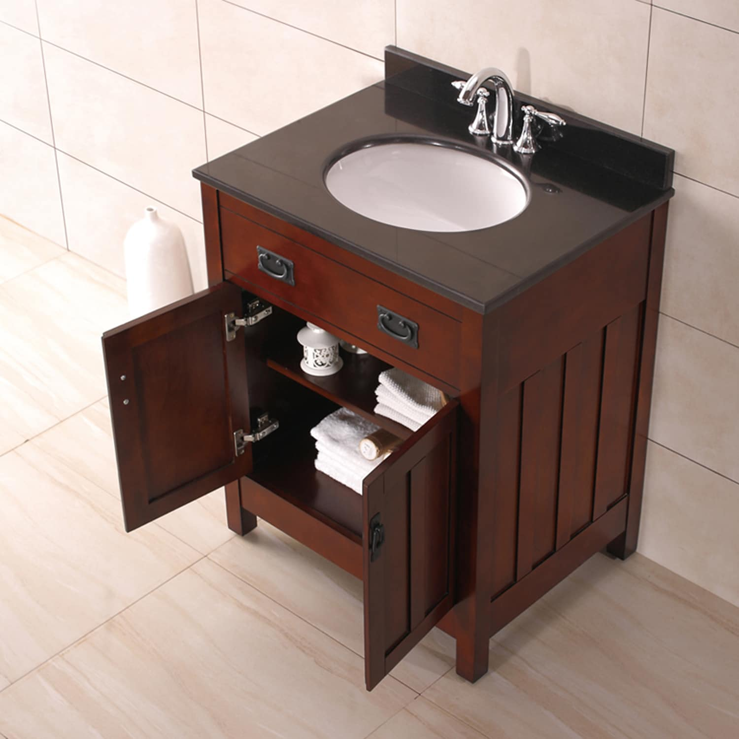 Shop OVE Decors Cain 28 Inch Dark Walnut Singe Sink Bathroom Vanity   Free  Shipping Today   Overstock.com   10299069