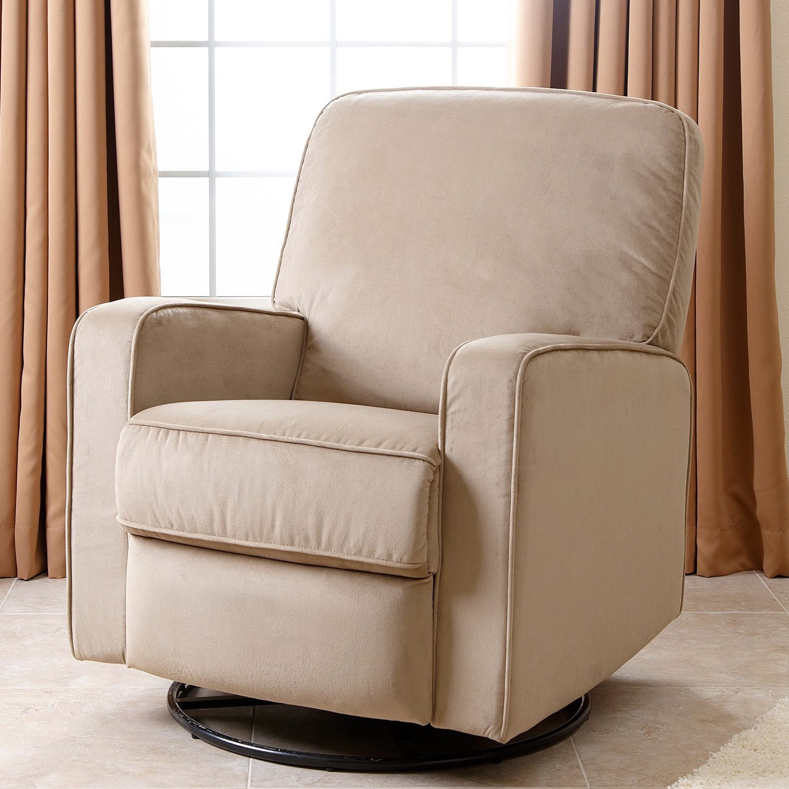 abbyson bella beige fabric swivel glider recliner chair free