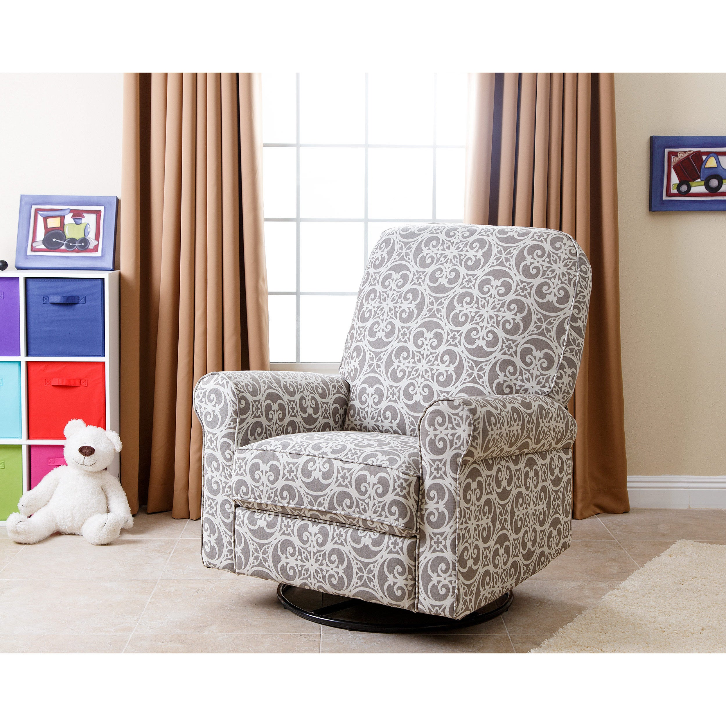 Abbyson Perth Grey Fabric and Wood Floral Swivel Glider Recliner ...