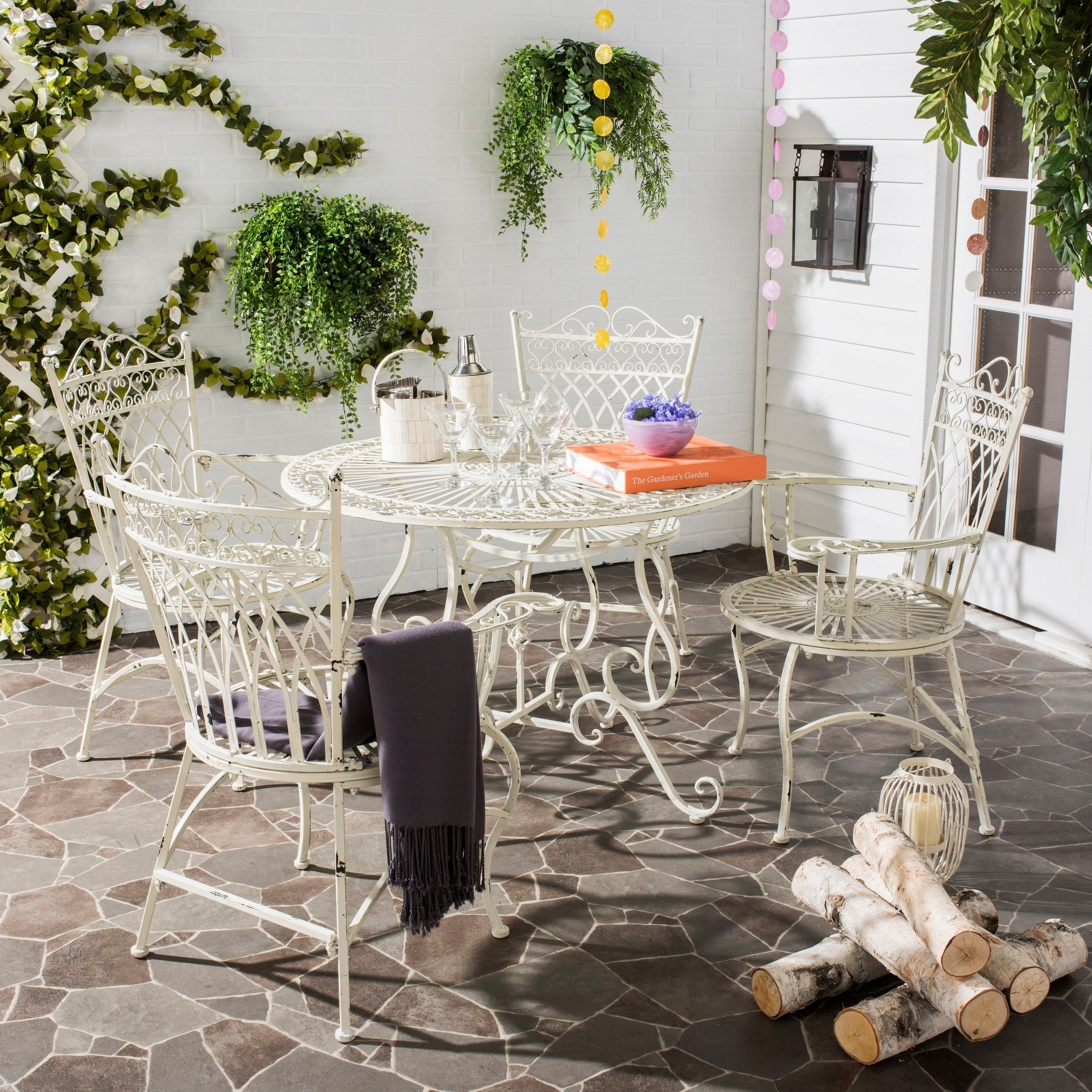 Shop Safavieh Outdoor Living Rustic Thessaly Antique White Dining