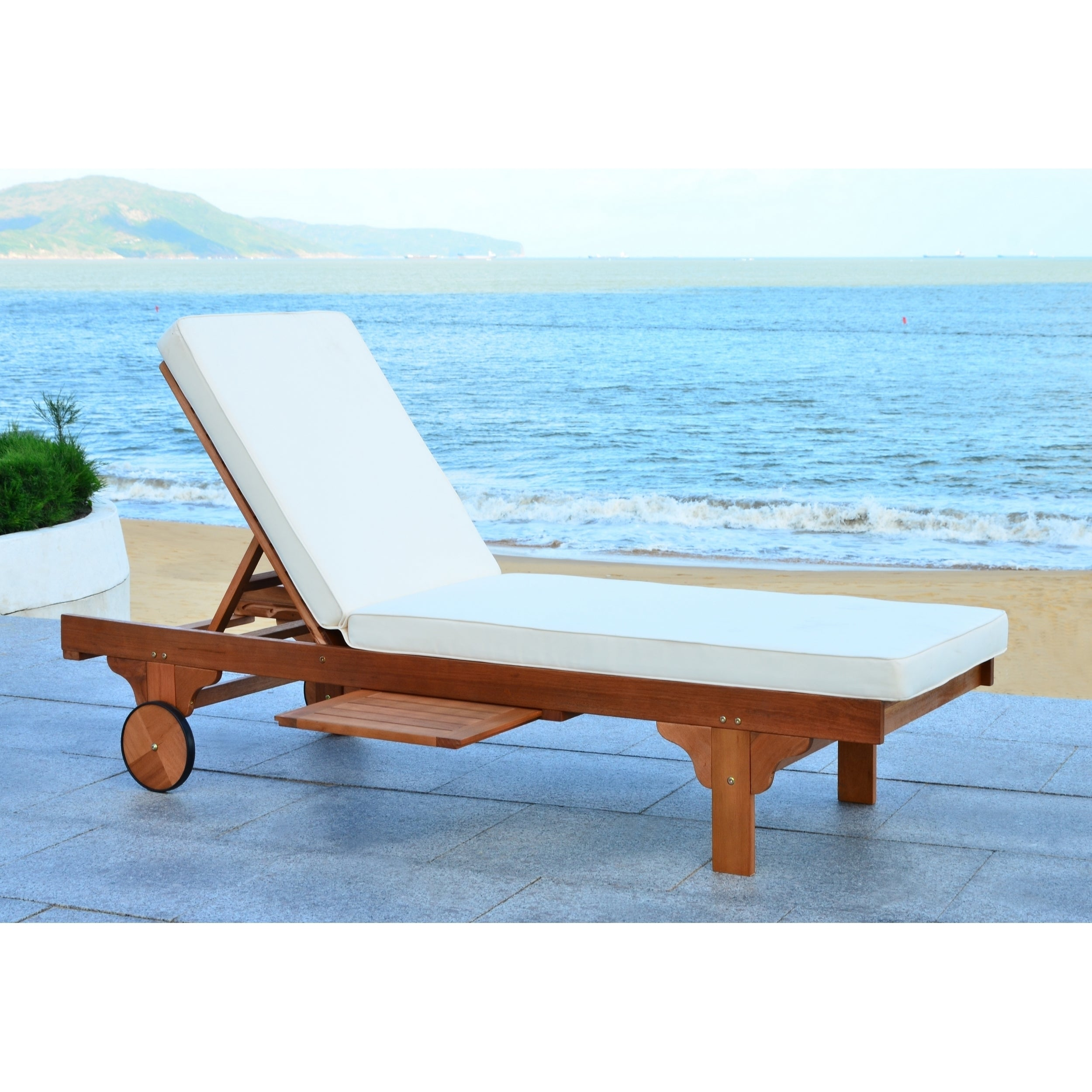fff9414b51a Shop Safavieh Outdoor Living Newport Brown  Beige Cart-Wheel Adjustable Chaise  Lounge Chair - Free Shipping Today - Overstock - 10300168