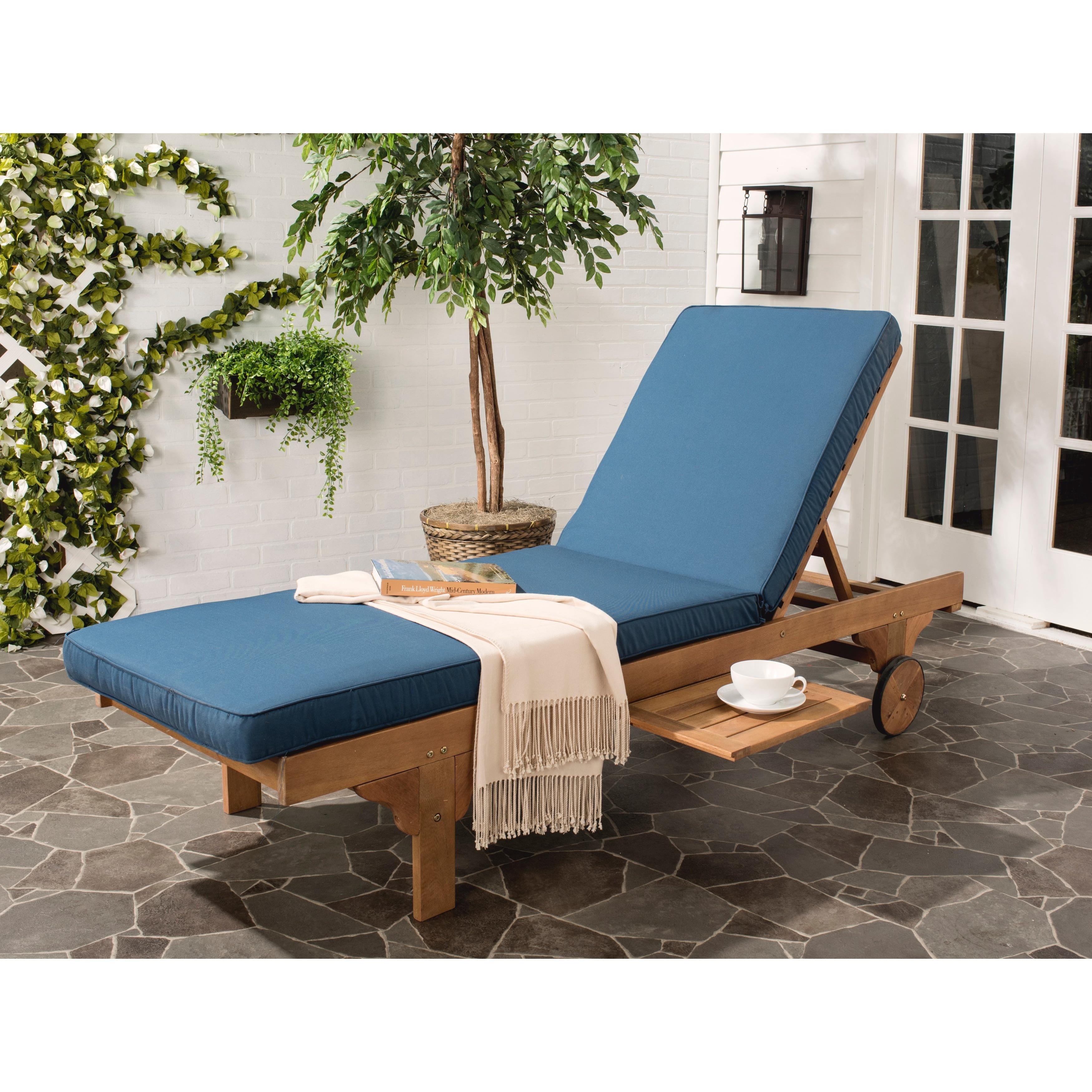 shop safavieh outdoor living newport brown navy adjustable chaise