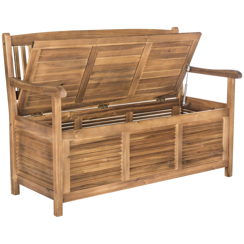 shop safavieh outdoor living brisbane brown storage bench on sale